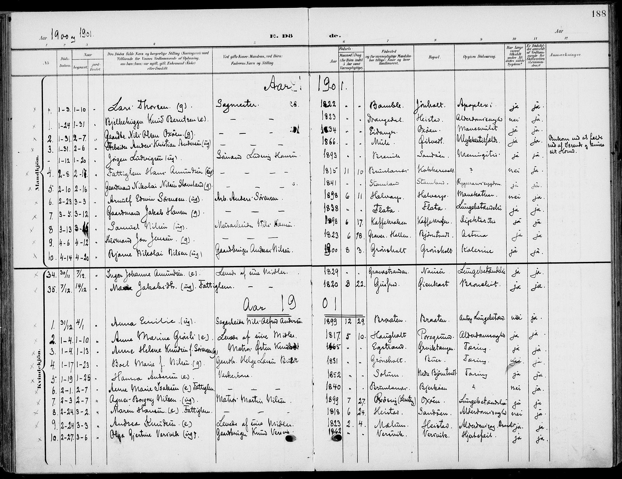 SAKO, Eidanger kirkebøker, F/Fa/L0013: Ministerialbok nr. 13, 1900-1913, s. 188