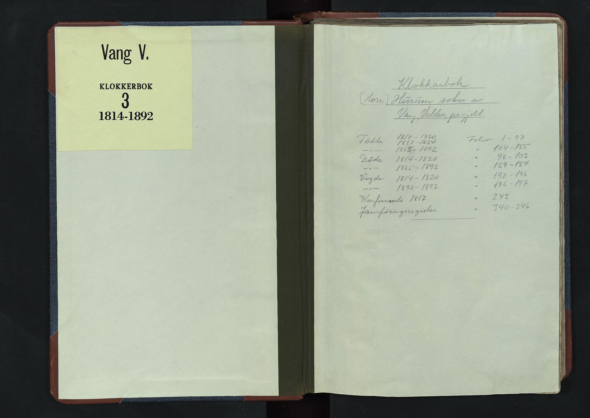 SAH, Vang prestekontor, Valdres, Klokkerbok nr. 3, 1814-1892