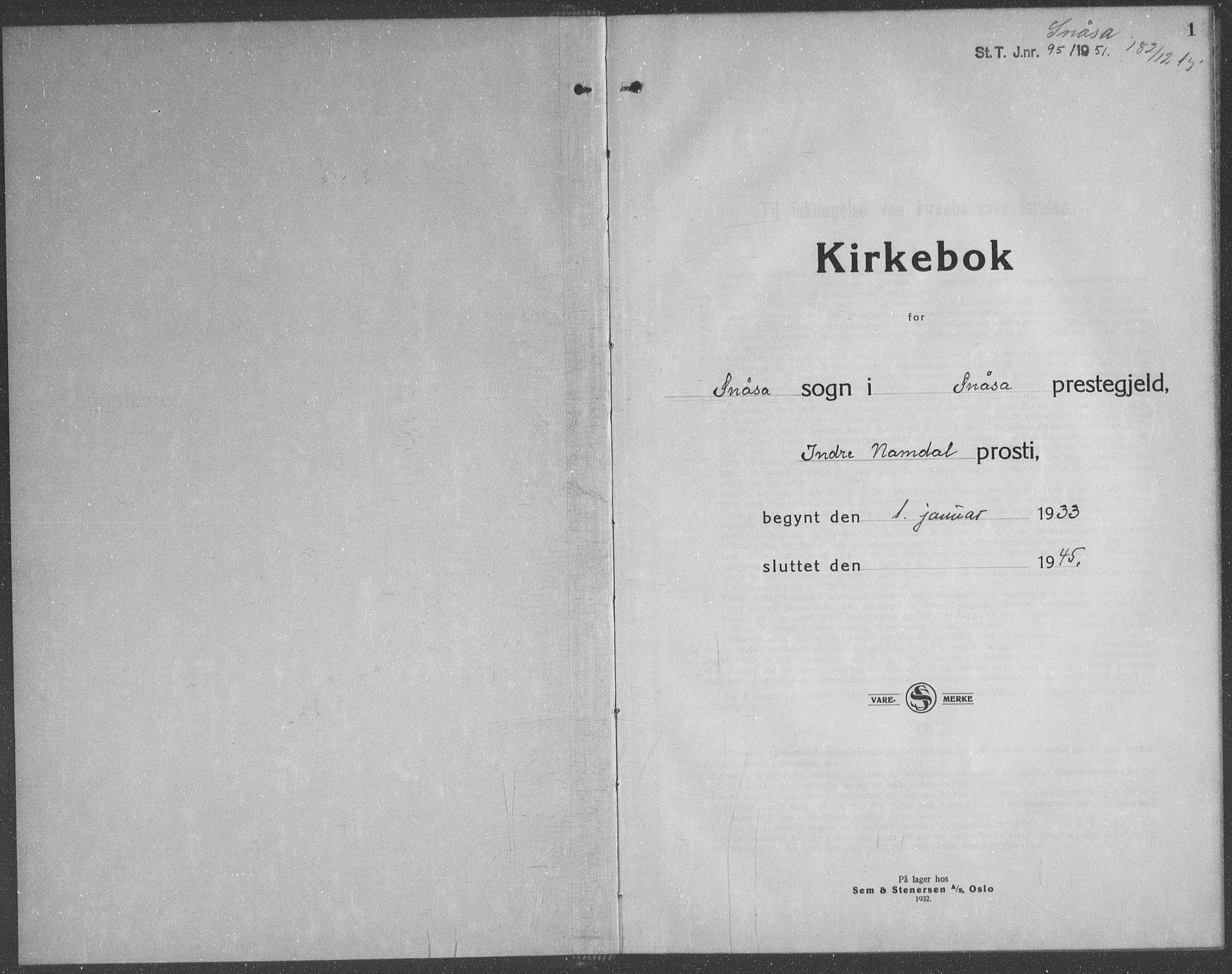 SAT, Ministerialprotokoller, klokkerbøker og fødselsregistre - Nord-Trøndelag, 749/L0481: Klokkerbok nr. 749C03, 1933-1945, s. 1