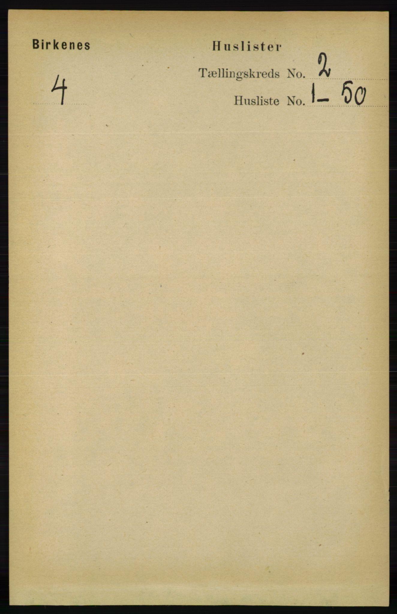RA, Folketelling 1891 for 0928 Birkenes herred, 1891, s. 447