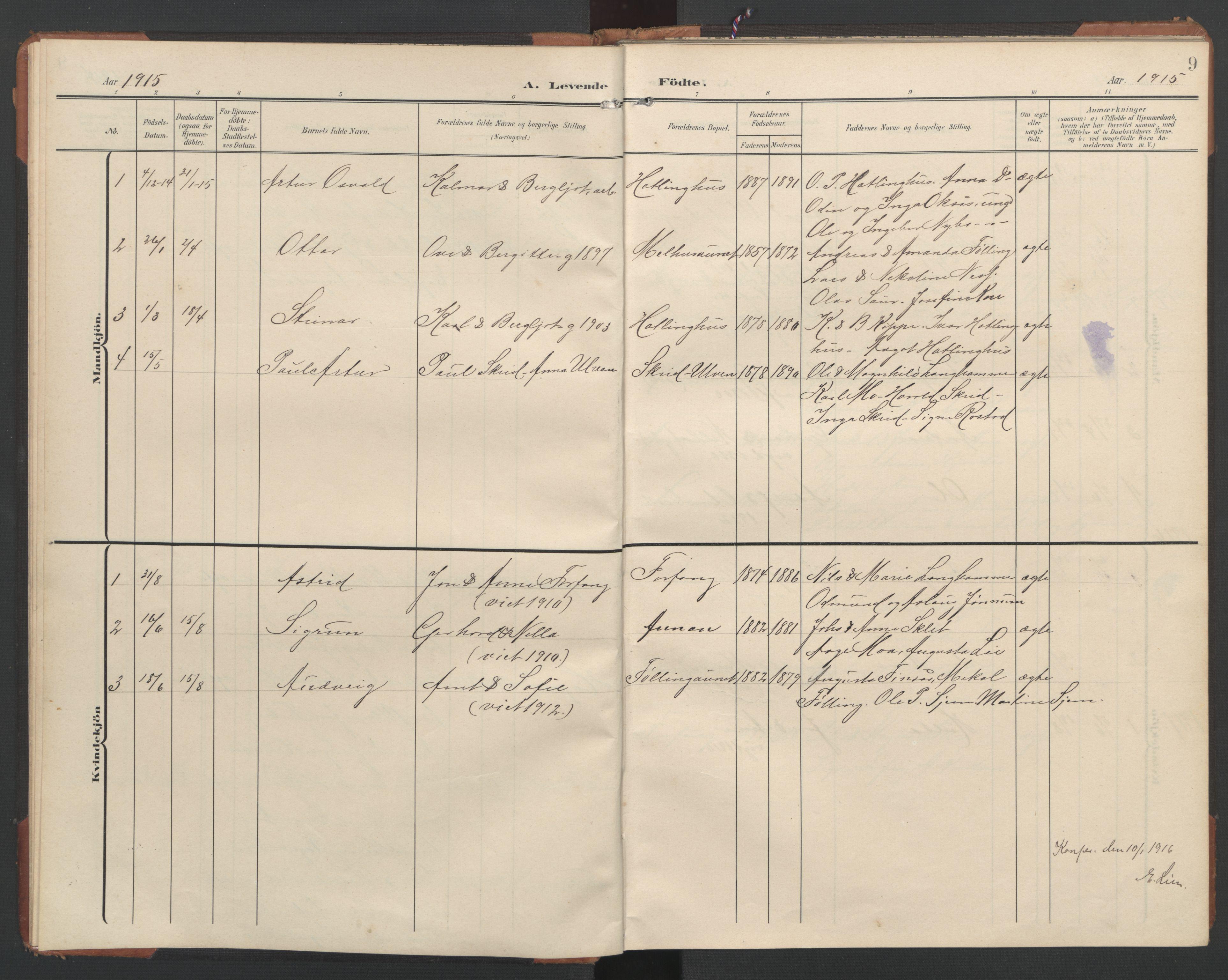 SAT, Ministerialprotokoller, klokkerbøker og fødselsregistre - Nord-Trøndelag, 748/L0465: Klokkerbok nr. 748C01, 1908-1960, s. 9
