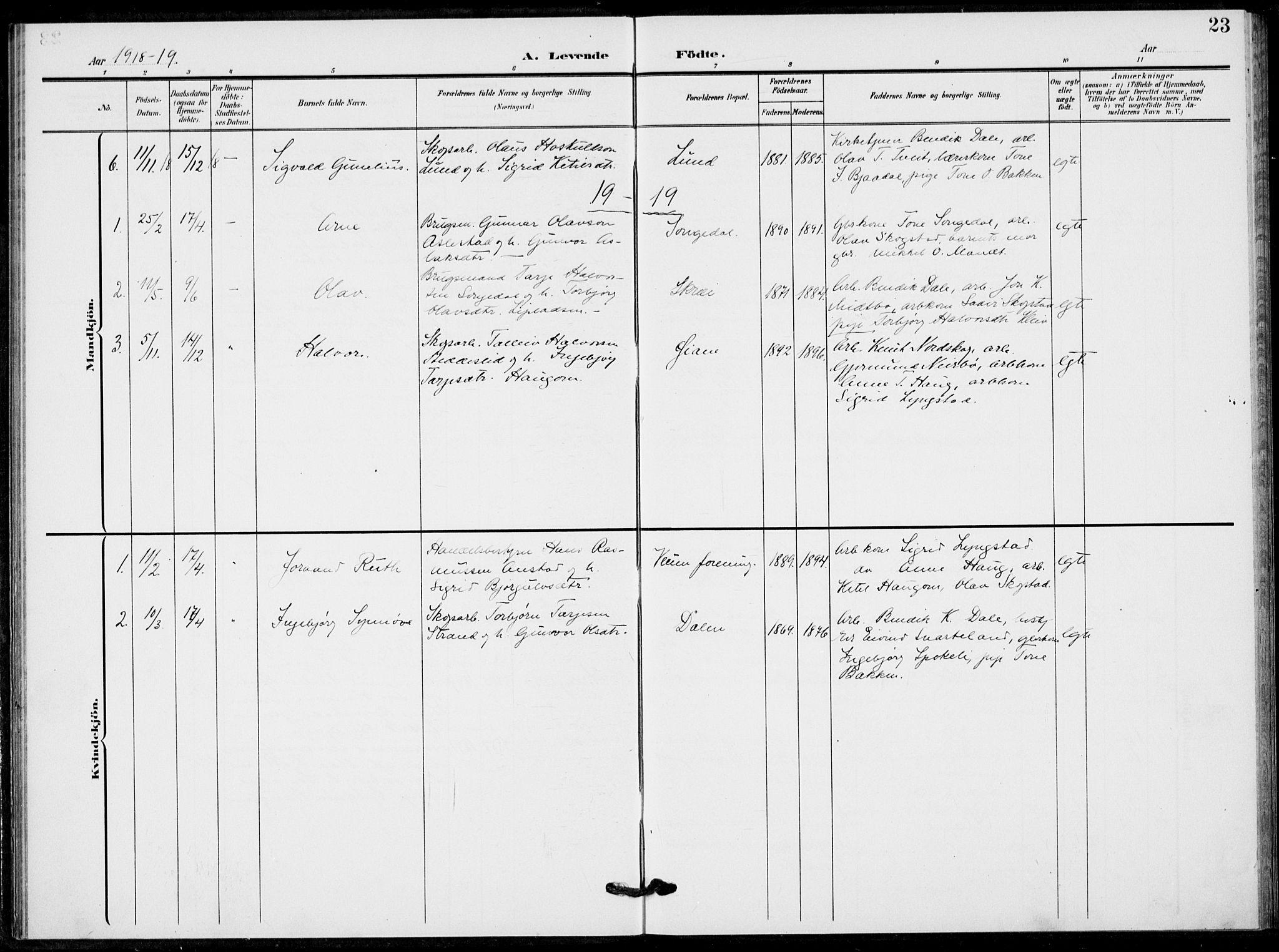 SAKO, Fyresdal kirkebøker, F/Fb/L0004: Ministerialbok nr. II 4, 1903-1920, s. 23