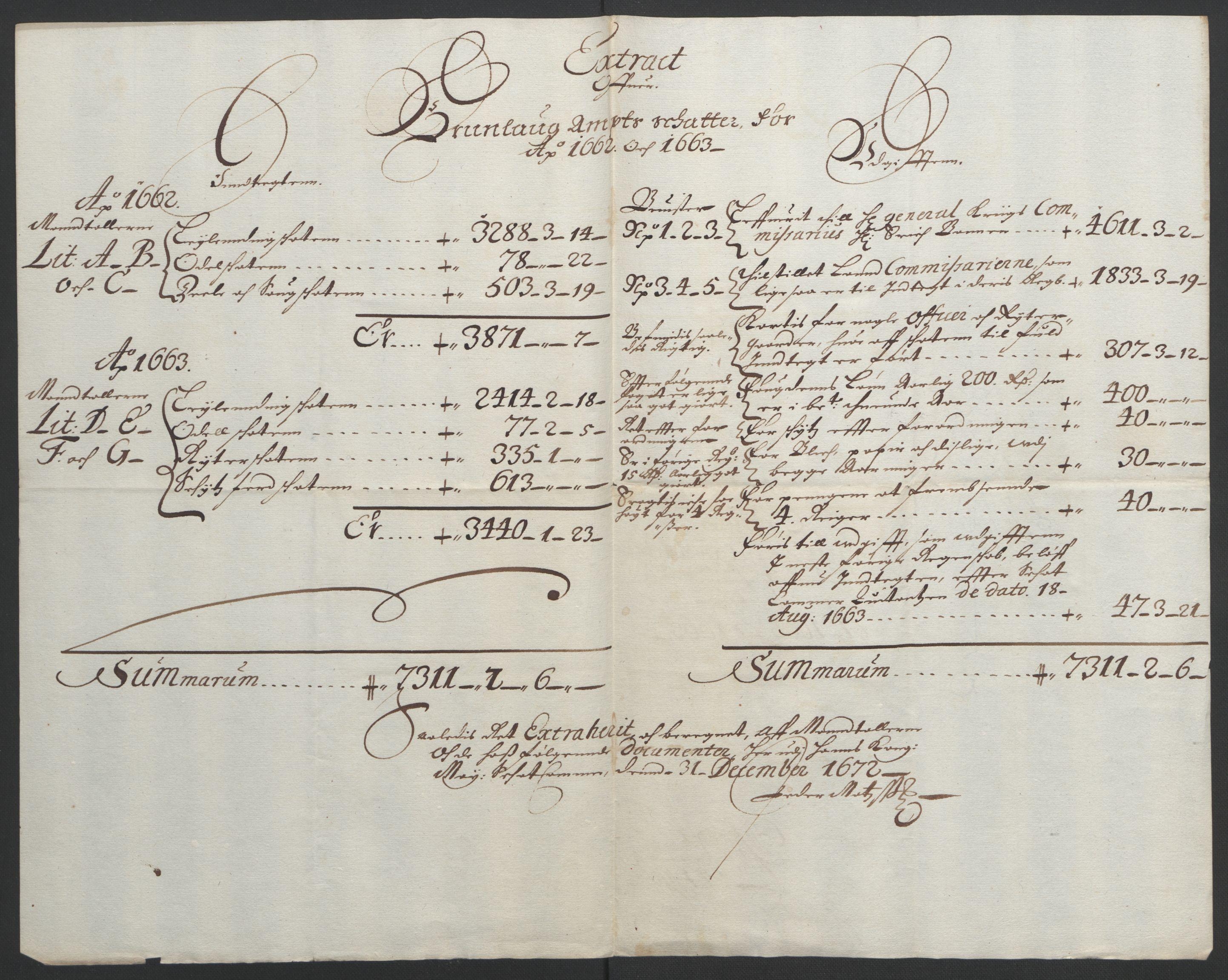 RA, Rentekammeret inntil 1814, Reviderte regnskaper, Fogderegnskap, R33/L1963: Fogderegnskap Larvik grevskap, 1662-1664, s. 176