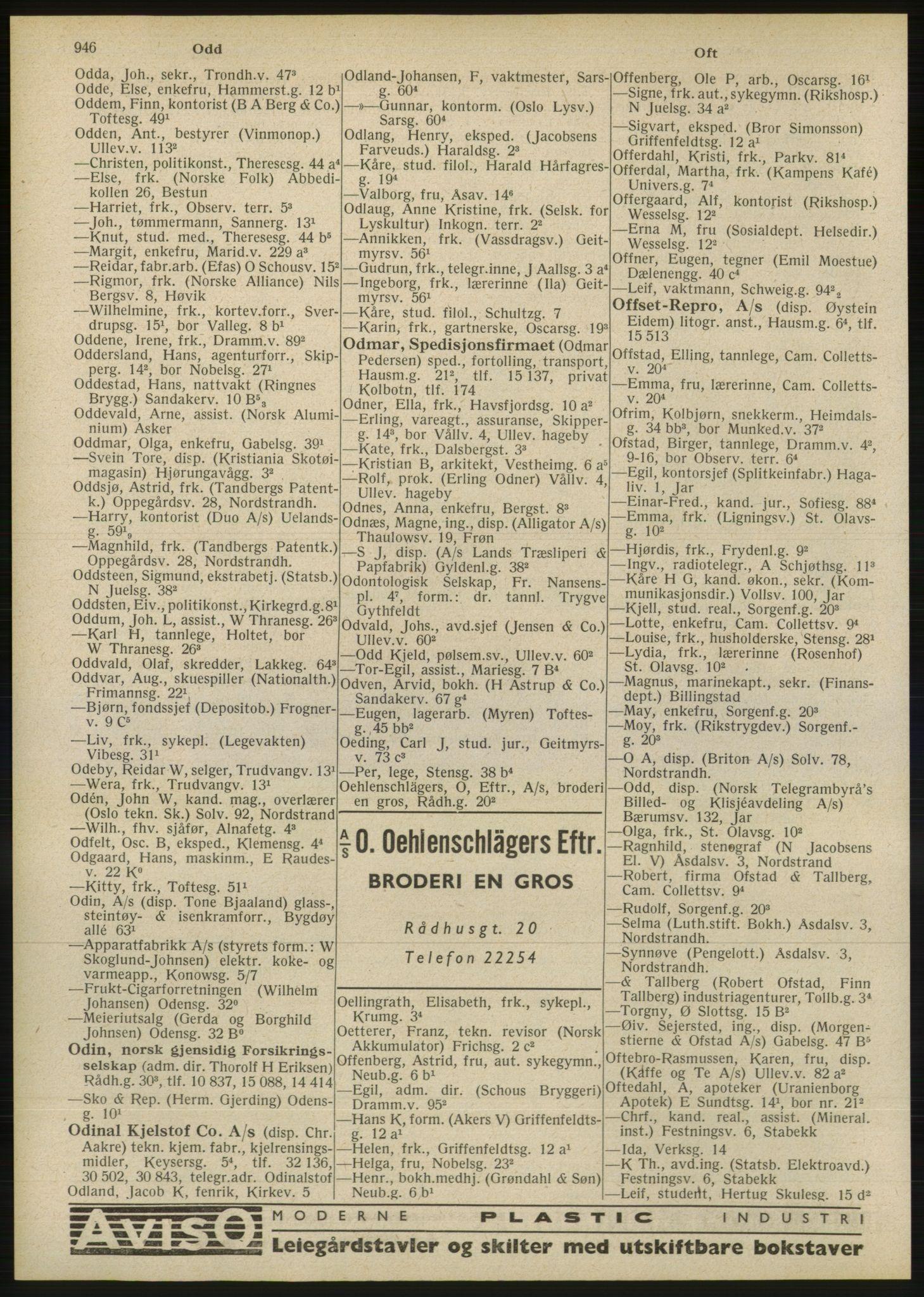 RA, Oslo adressebok (publikasjon)*, 1946, s. 946