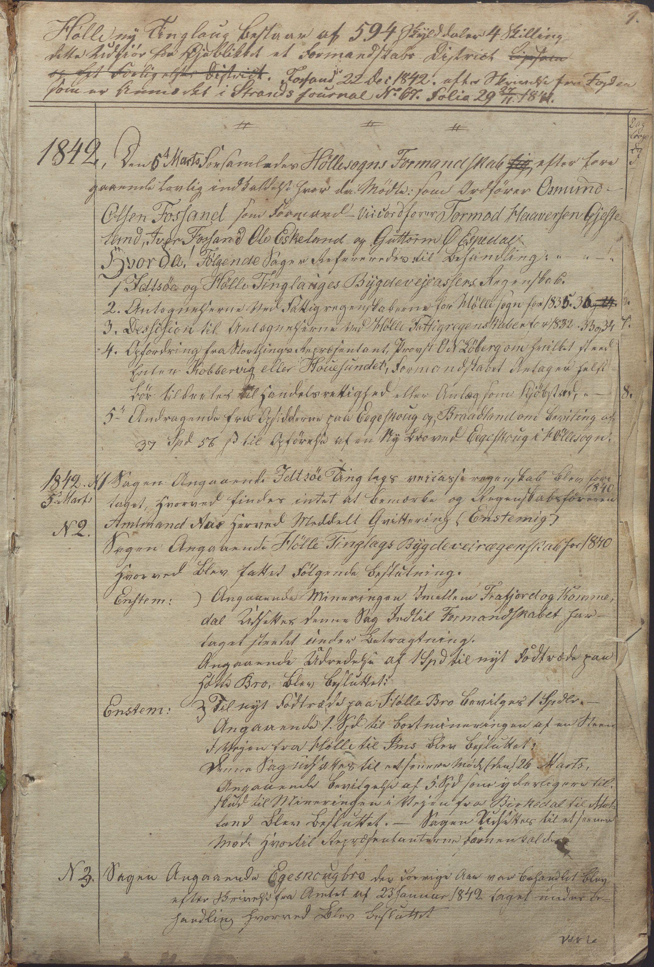 IKAR, Høle kommune - Formannskapet, Aa/L0001: Møtebok, 1842-1895, s. 1a