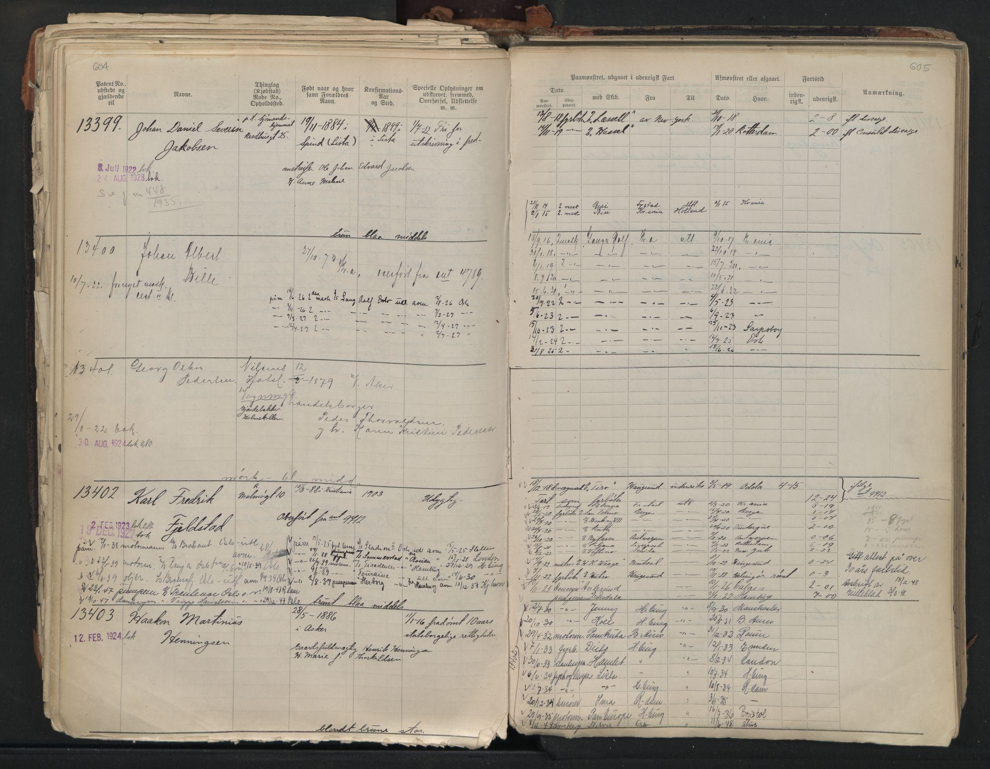 SAO, Oslo sjømannskontor, F/Fb/L0001: Annotasjonsrulle, 1908-1938, s. 604-605