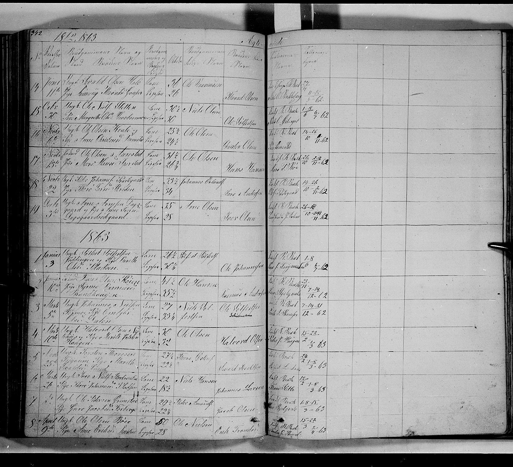 SAH, Lom prestekontor, L/L0004: Klokkerbok nr. 4, 1845-1864, s. 342-343