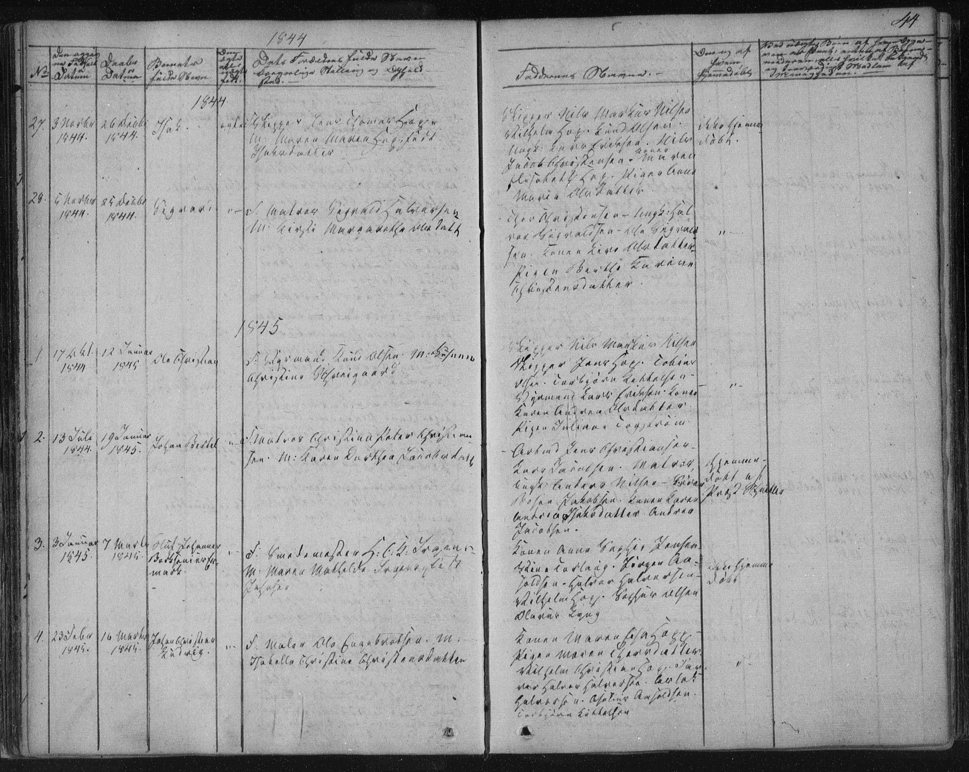 SAKO, Kragerø kirkebøker, F/Fa/L0005: Ministerialbok nr. 5, 1832-1847, s. 44