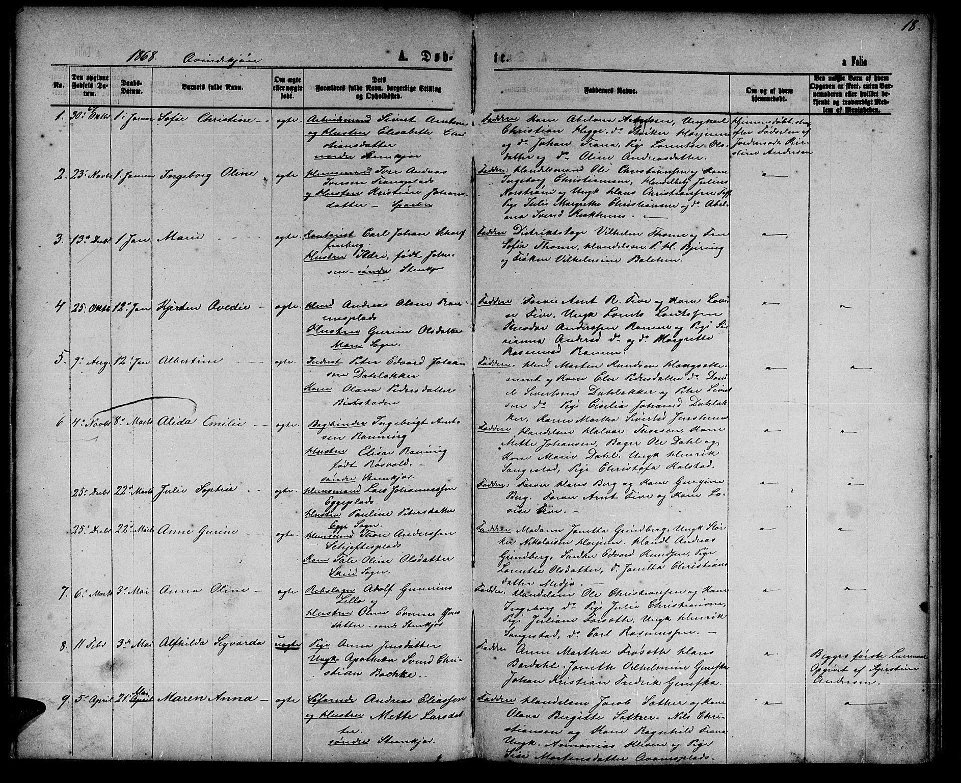 SAT, Ministerialprotokoller, klokkerbøker og fødselsregistre - Nord-Trøndelag, 739/L0373: Klokkerbok nr. 739C01, 1865-1882, s. 18
