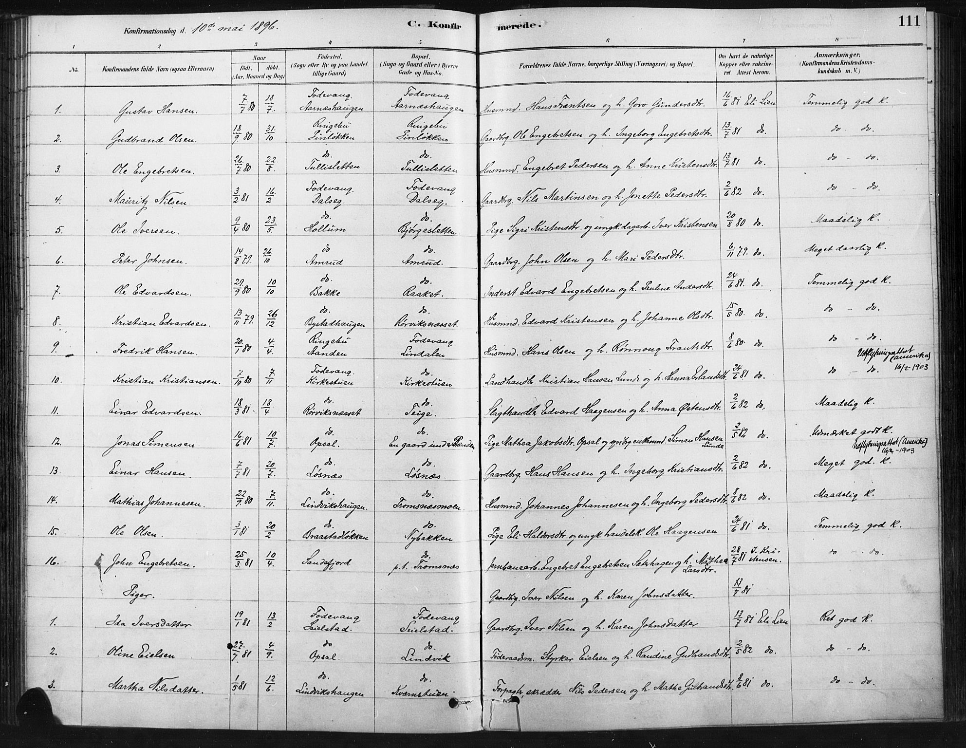 SAH, Ringebu prestekontor, Ministerialbok nr. 9, 1878-1898, s. 111