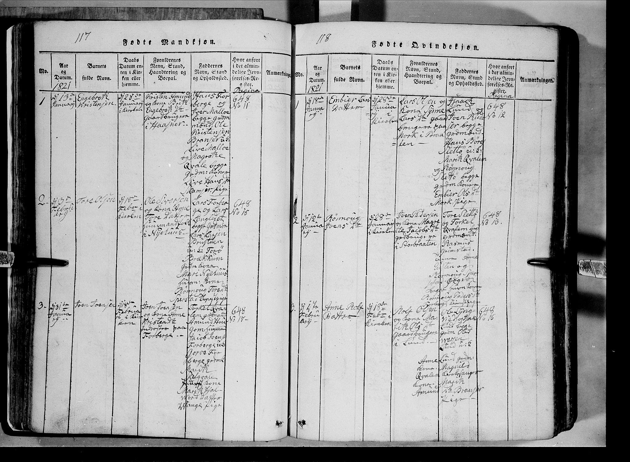 SAH, Lom prestekontor, L/L0003: Klokkerbok nr. 3, 1815-1844, s. 117-118