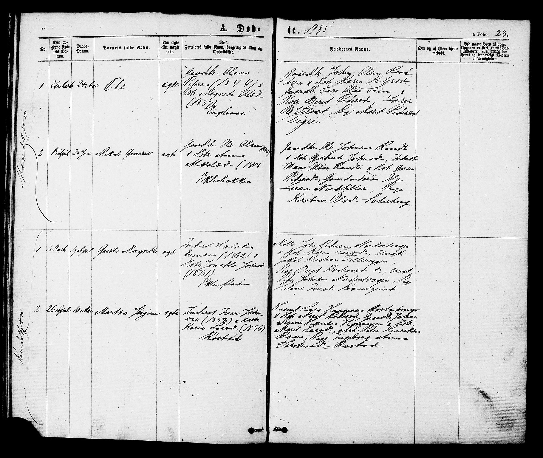 SAT, Ministerialprotokoller, klokkerbøker og fødselsregistre - Sør-Trøndelag, 608/L0334: Ministerialbok nr. 608A03, 1877-1886, s. 23