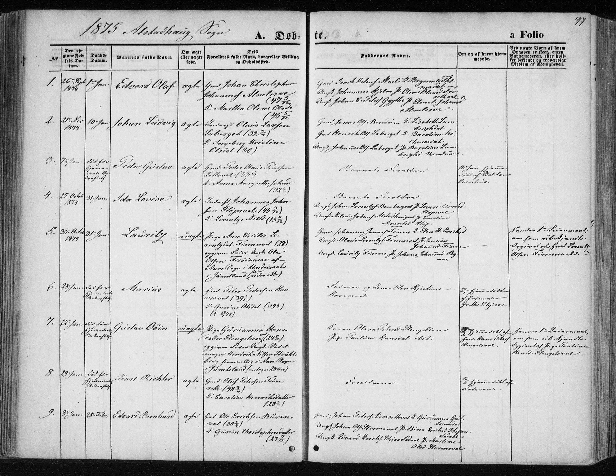 SAT, Ministerialprotokoller, klokkerbøker og fødselsregistre - Nord-Trøndelag, 717/L0157: Ministerialbok nr. 717A08 /1, 1863-1877, s. 97