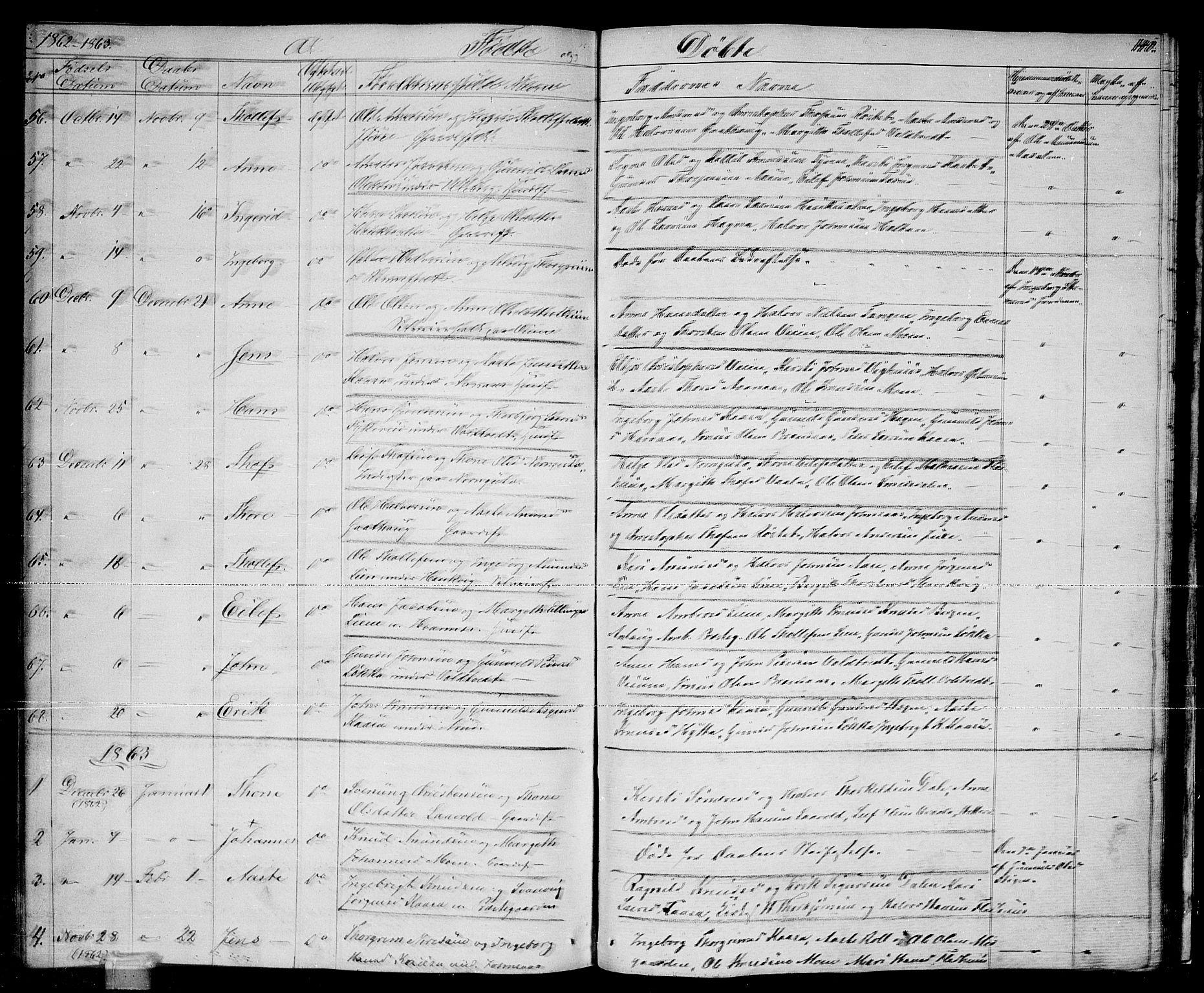 SAKO, Sauherad kirkebøker, G/Ga/L0002: Klokkerbok nr. I 2, 1842-1866, s. 140