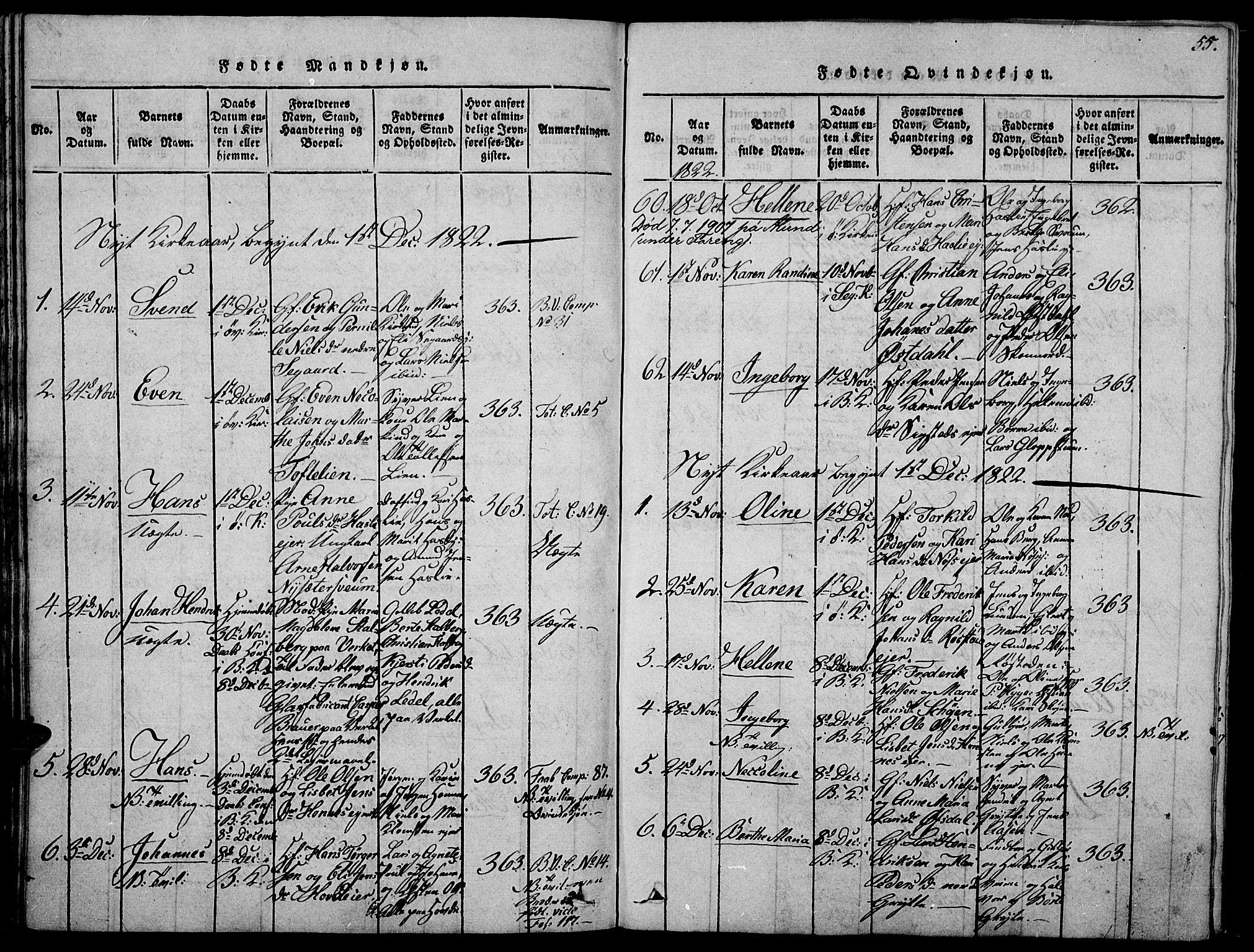 SAH, Biri prestekontor, Ministerialbok nr. 3, 1814-1828, s. 55