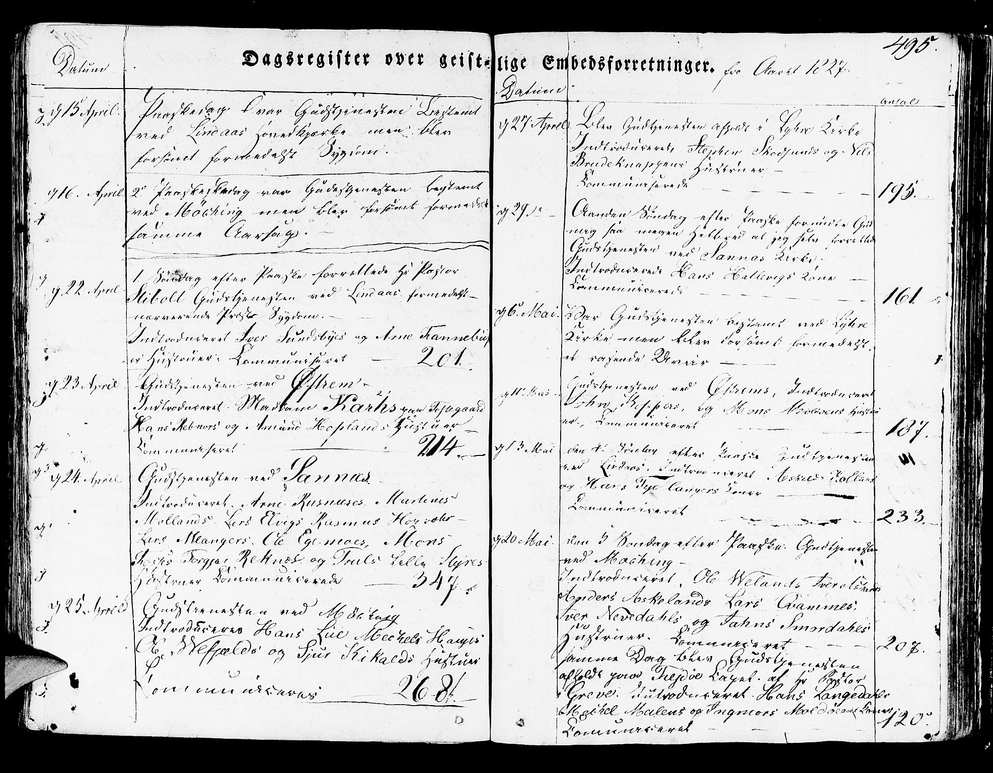 SAB, Lindås Sokneprestembete, H/Haa: Ministerialbok nr. A 8, 1823-1836, s. 495