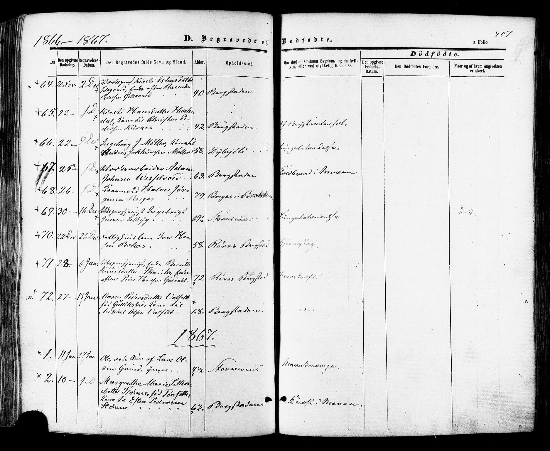 SAT, Ministerialprotokoller, klokkerbøker og fødselsregistre - Sør-Trøndelag, 681/L0932: Ministerialbok nr. 681A10, 1860-1878, s. 407