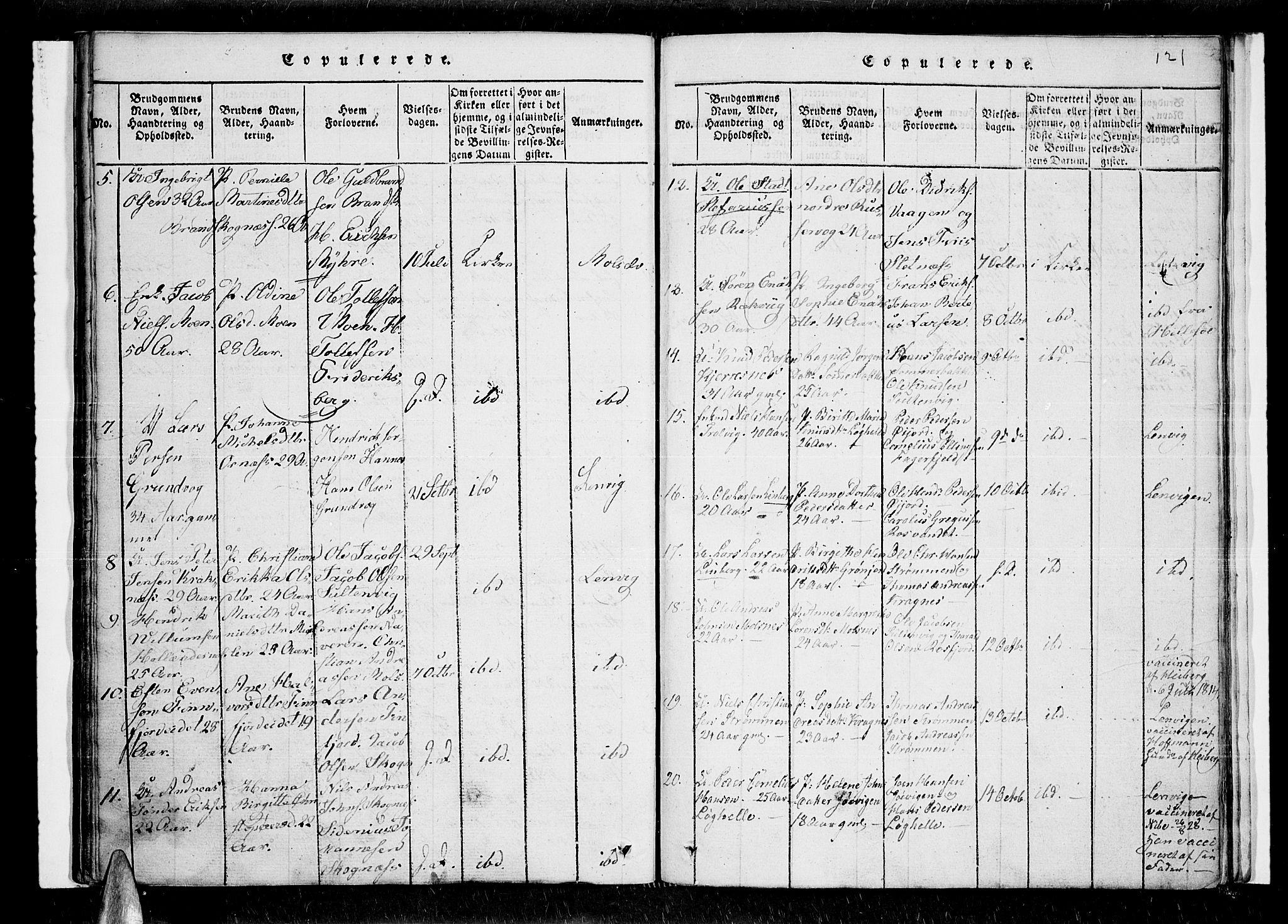 SATØ, Lenvik sokneprestembete, H/Ha/Haa/L0003kirke: Ministerialbok nr. 3, 1820-1831, s. 121