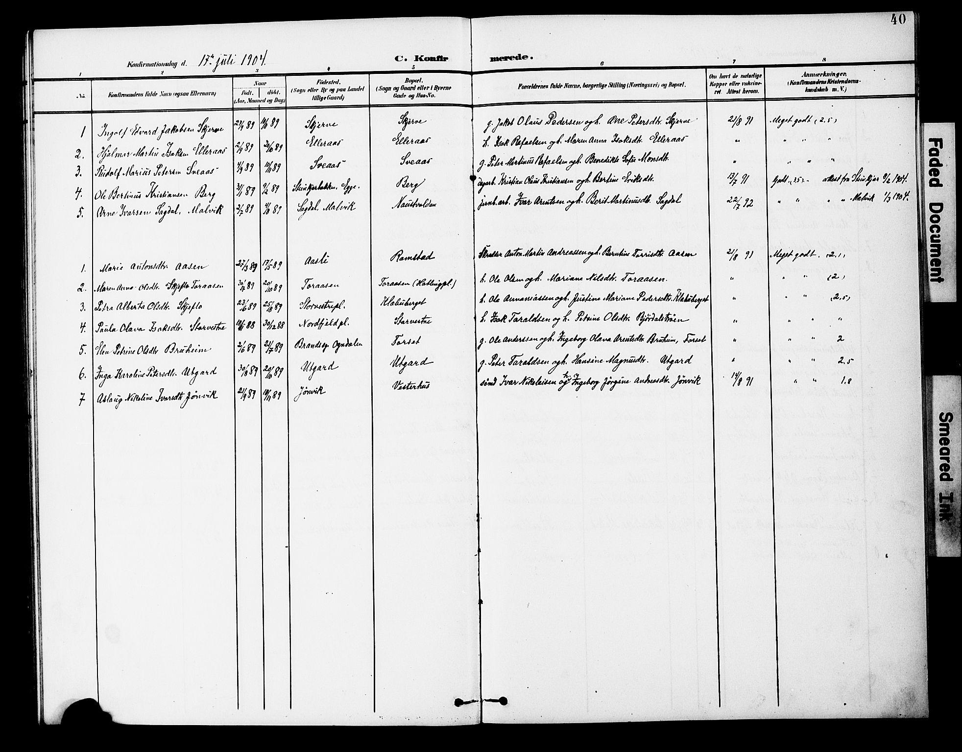 SAT, Ministerialprotokoller, klokkerbøker og fødselsregistre - Nord-Trøndelag, 746/L0452: Ministerialbok nr. 746A09, 1900-1908, s. 40