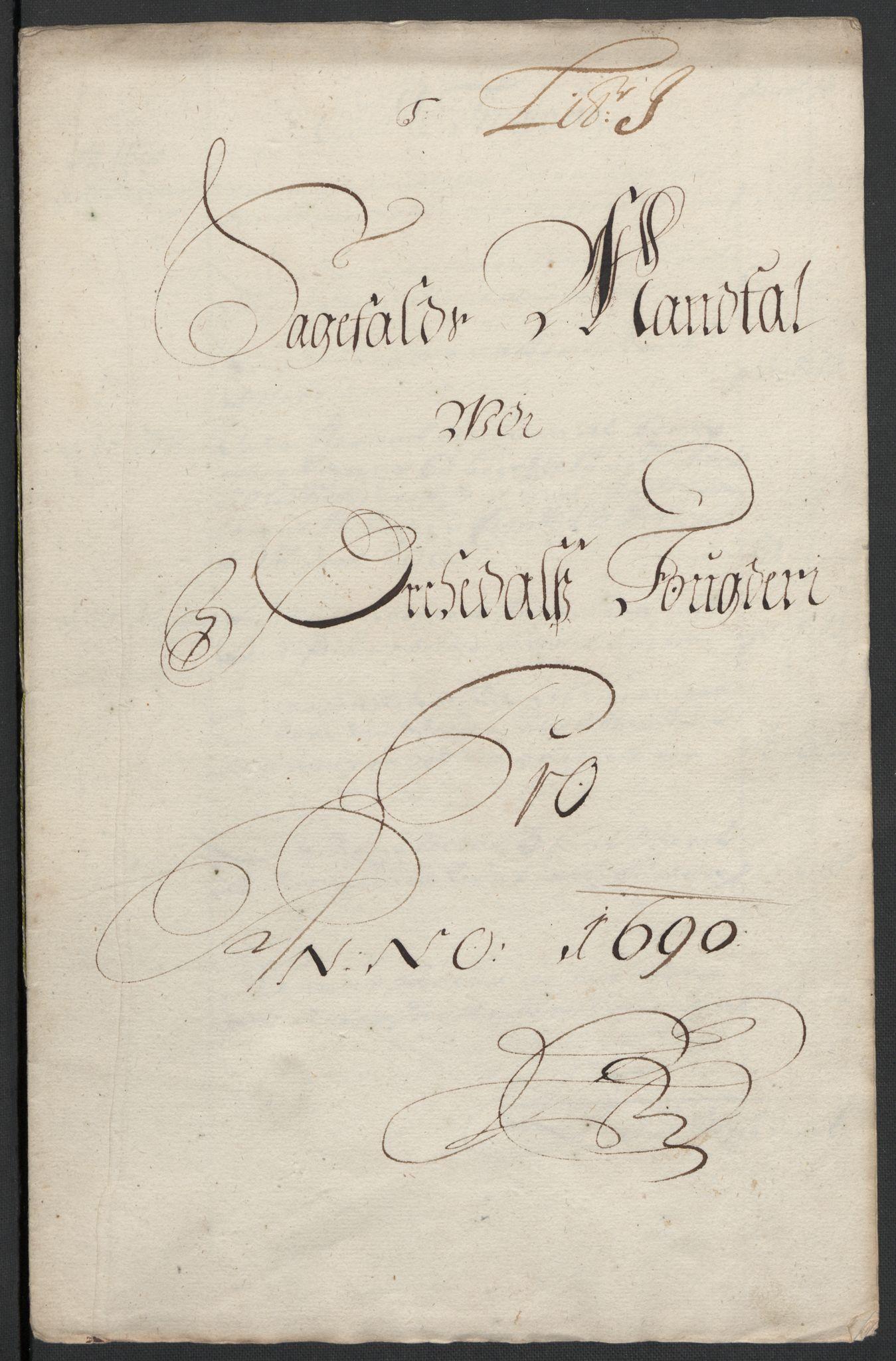 RA, Rentekammeret inntil 1814, Reviderte regnskaper, Fogderegnskap, R58/L3936: Fogderegnskap Orkdal, 1689-1690, s. 394