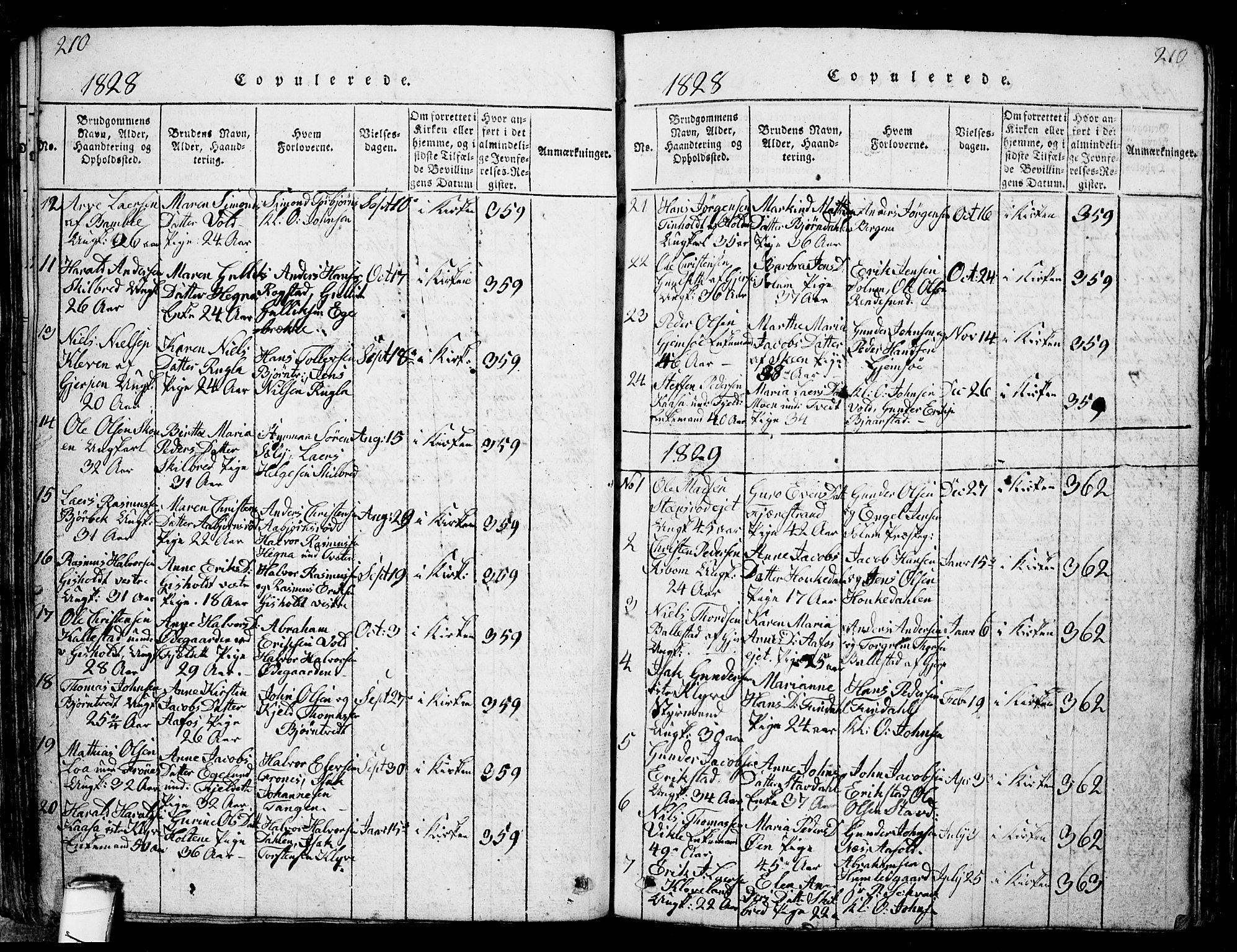 SAKO, Solum kirkebøker, G/Ga/L0001: Klokkerbok nr. I 1, 1814-1833, s. 210