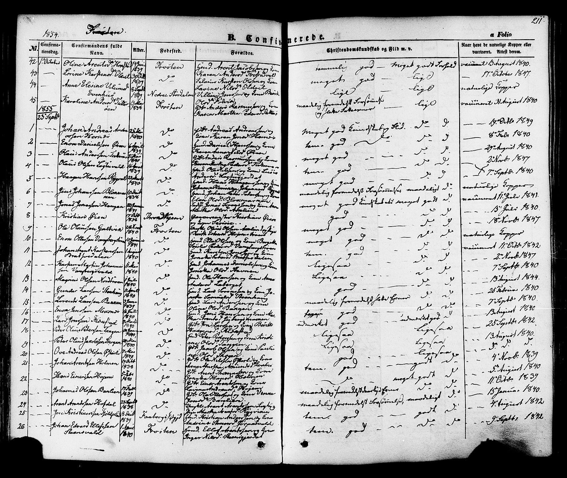 SAT, Ministerialprotokoller, klokkerbøker og fødselsregistre - Nord-Trøndelag, 713/L0116: Ministerialbok nr. 713A07 /1, 1850-1877, s. 211
