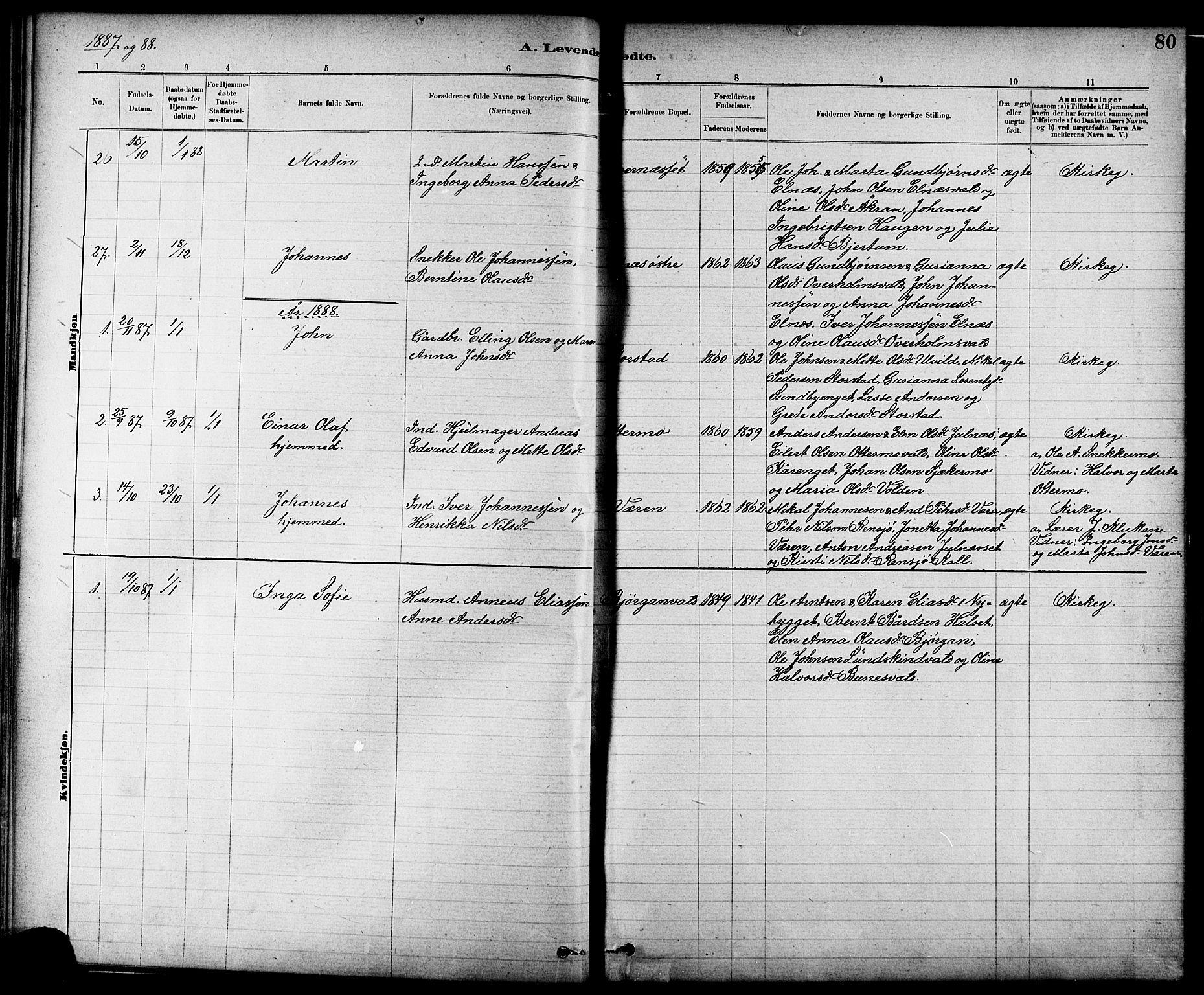 SAT, Ministerialprotokoller, klokkerbøker og fødselsregistre - Nord-Trøndelag, 724/L0267: Klokkerbok nr. 724C03, 1879-1898, s. 80