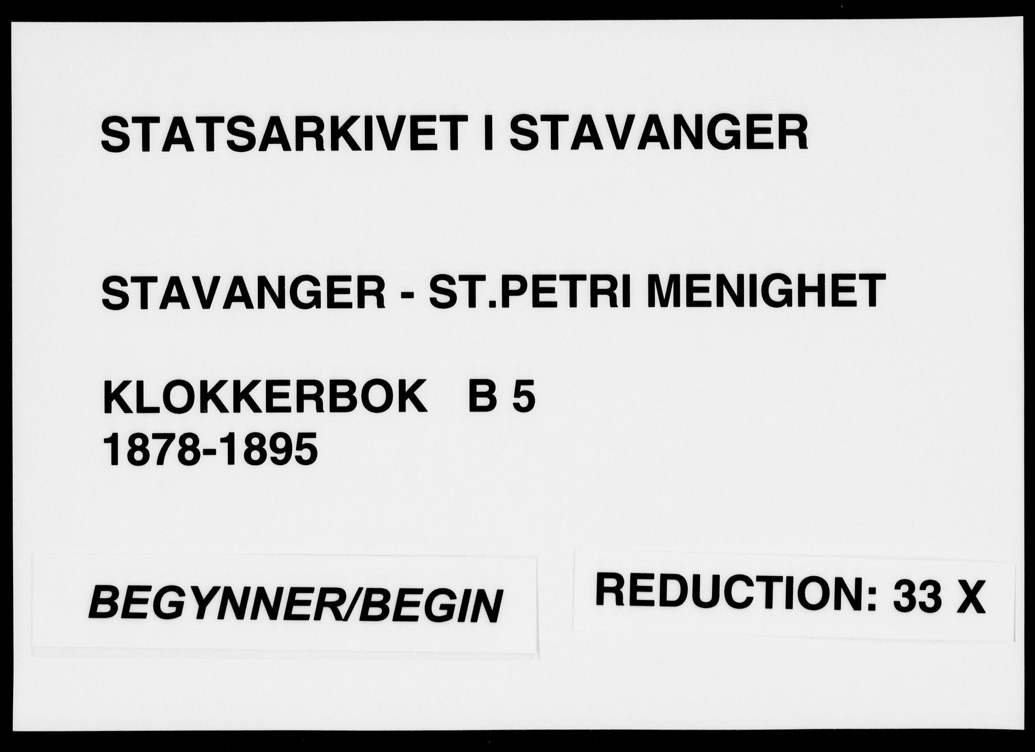 SAST, St. Petri sokneprestkontor, 30/30BB/L0005: Klokkerbok nr. B 5, 1878-1895