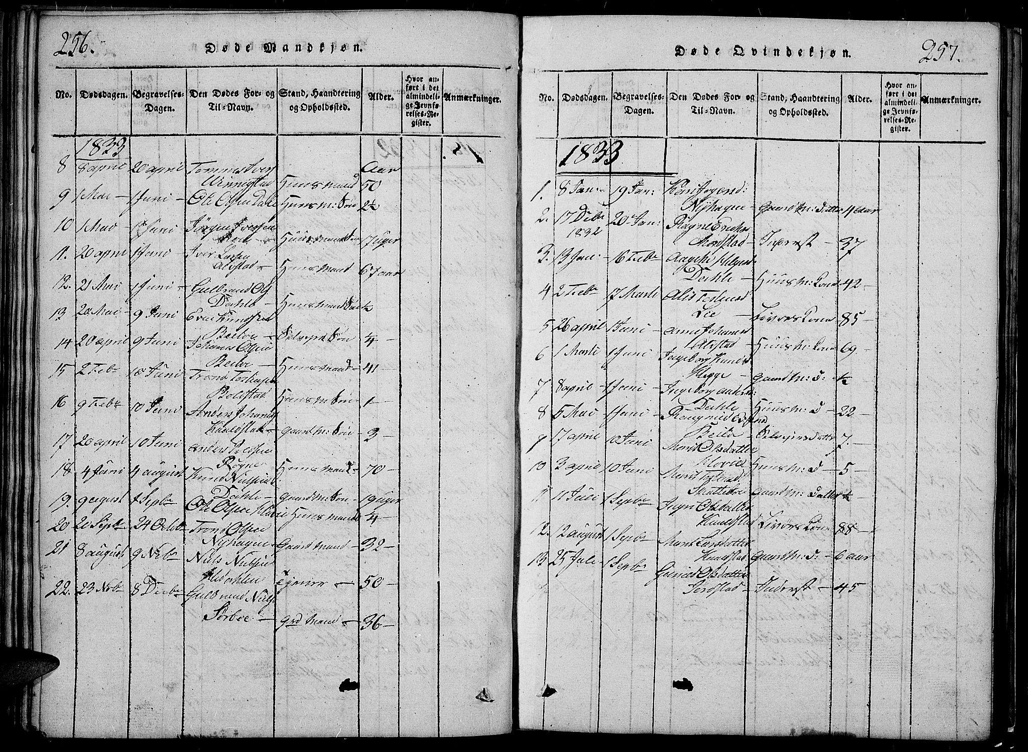 SAH, Slidre prestekontor, Klokkerbok nr. 2, 1814-1839, s. 256-257