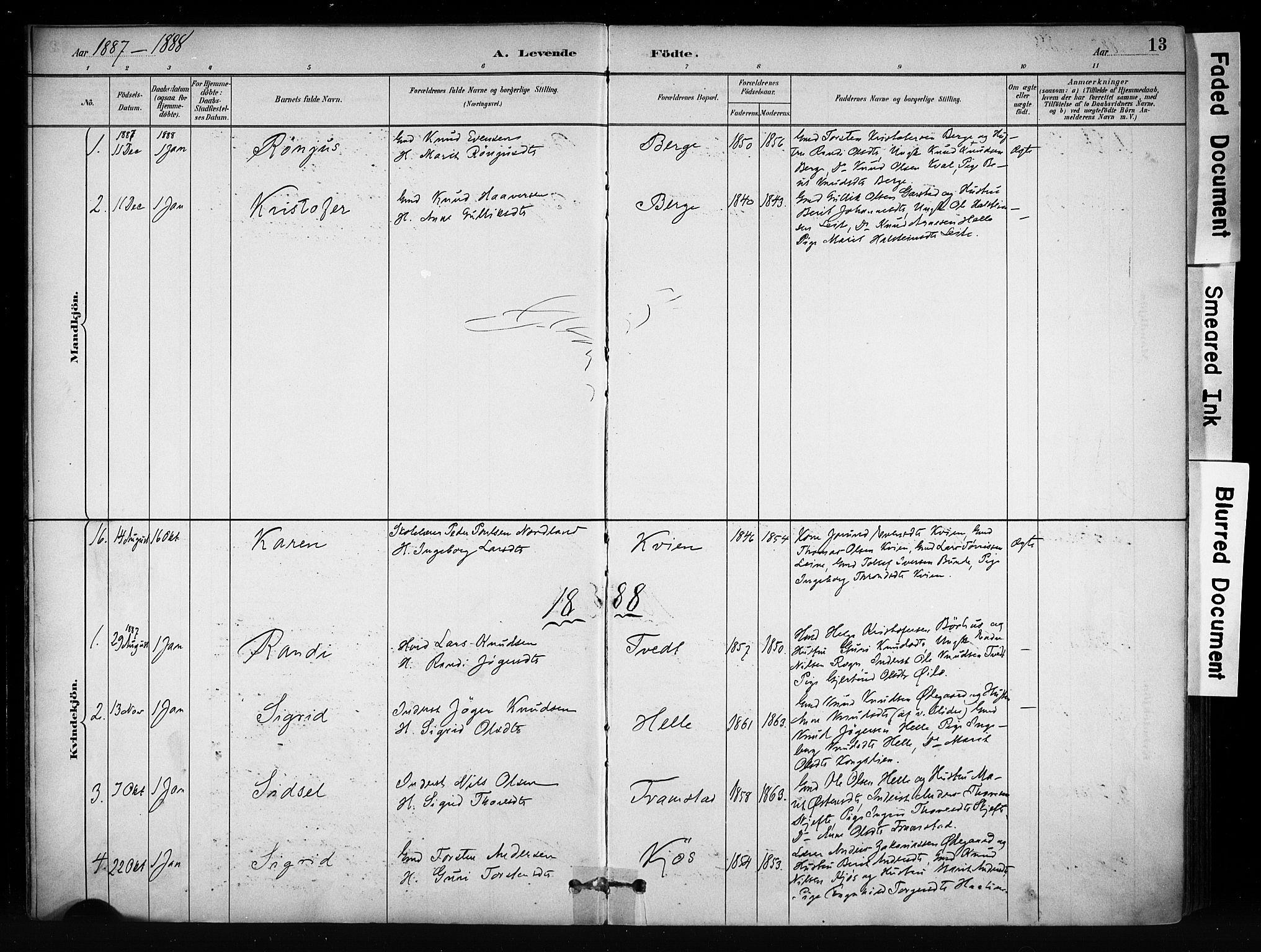 SAH, Vang prestekontor, Valdres, Ministerialbok nr. 9, 1882-1914, s. 13