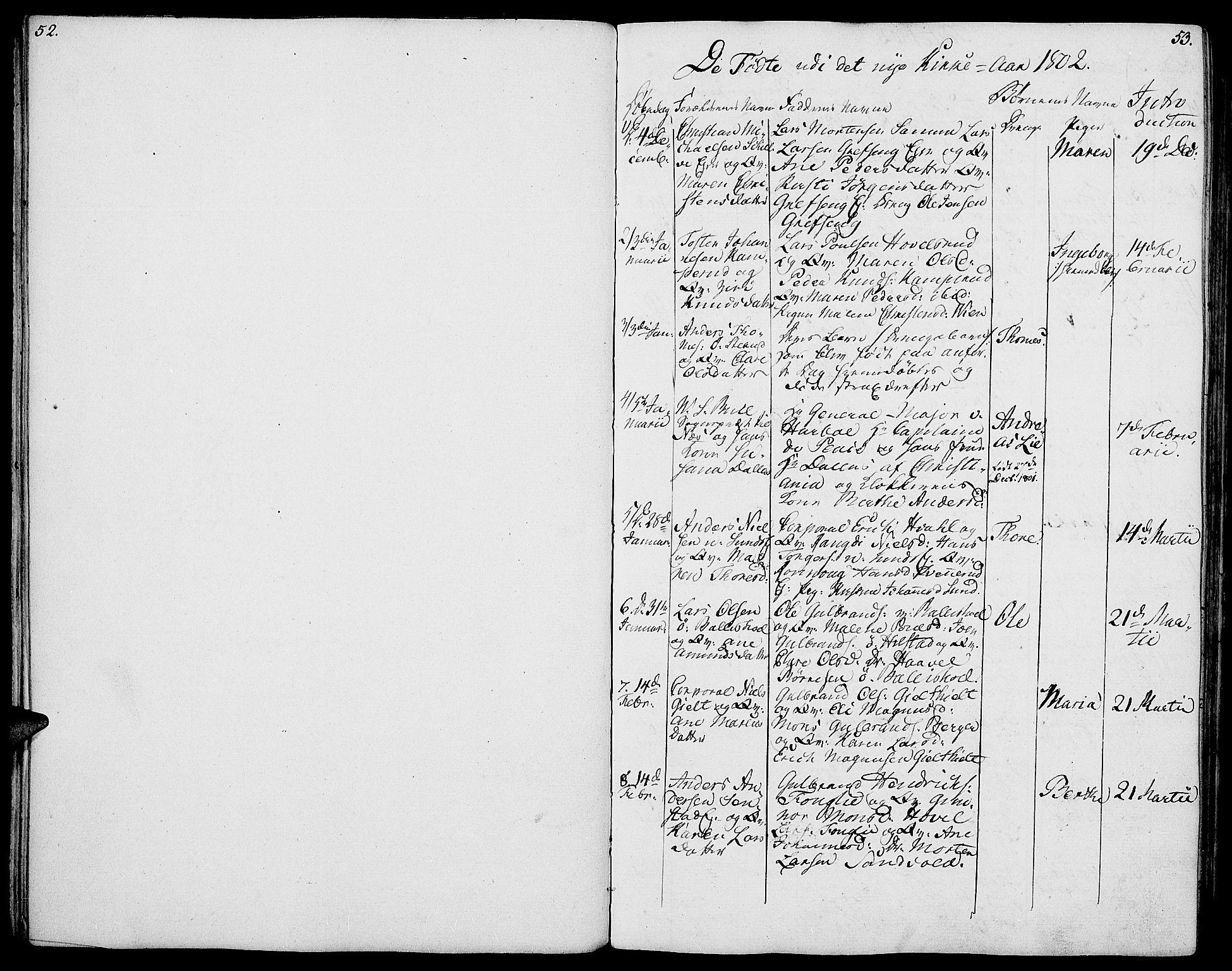 SAH, Nes prestekontor, K/Ka/L0001: Ministerialbok nr. 1, 1802-1814, s. 52-53