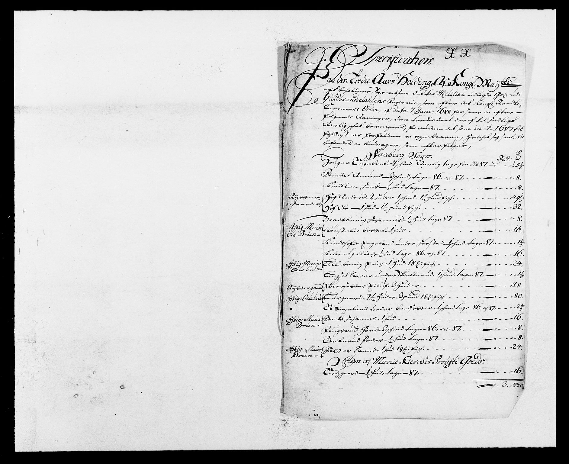 RA, Rentekammeret inntil 1814, Reviderte regnskaper, Fogderegnskap, R17/L1162: Fogderegnskap Gudbrandsdal, 1682-1689, s. 87
