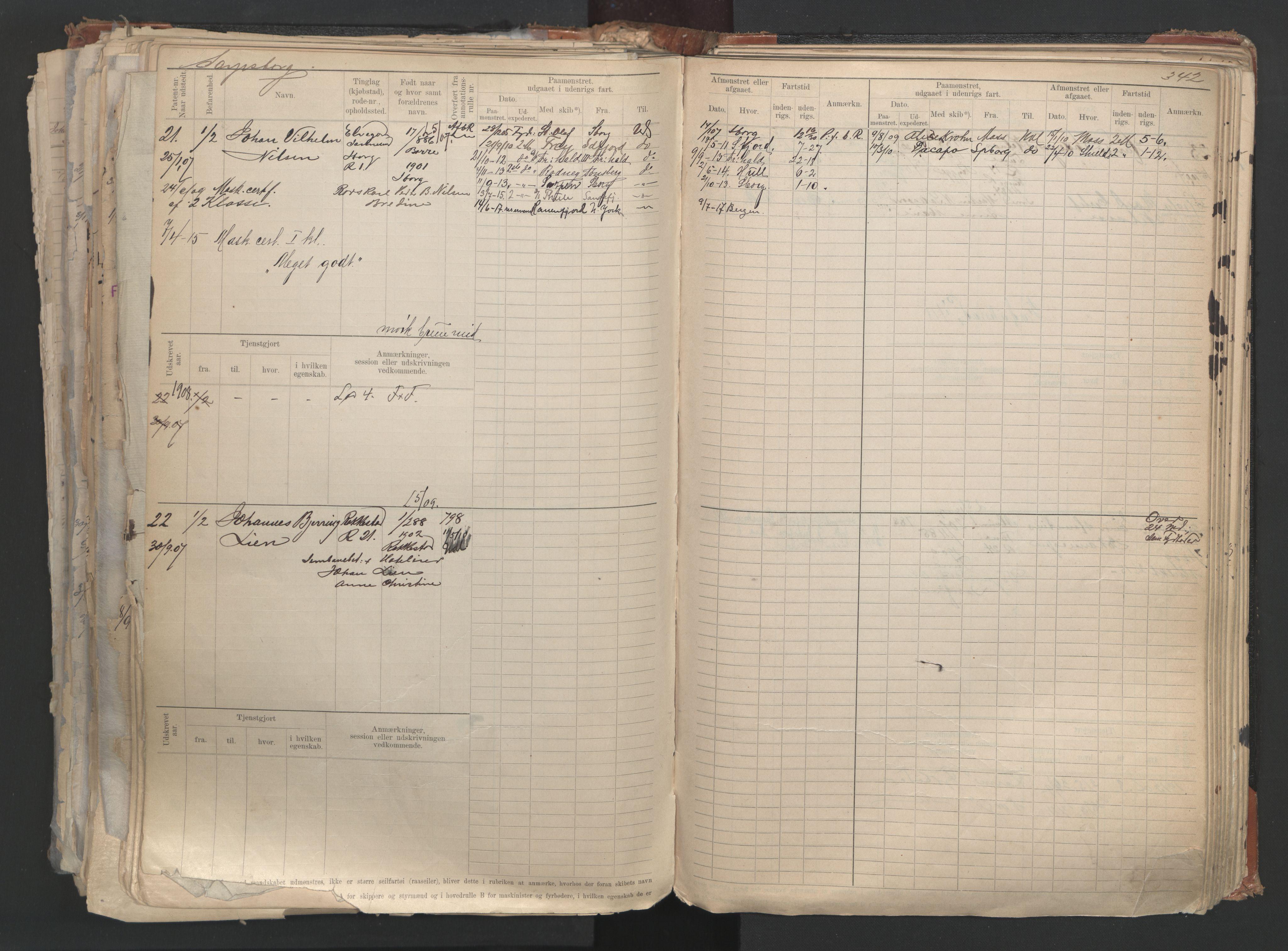 SAO, Oslo sjømannskontor, F/Fd/L0006: B-rulle, 1883, s. 341b-342a
