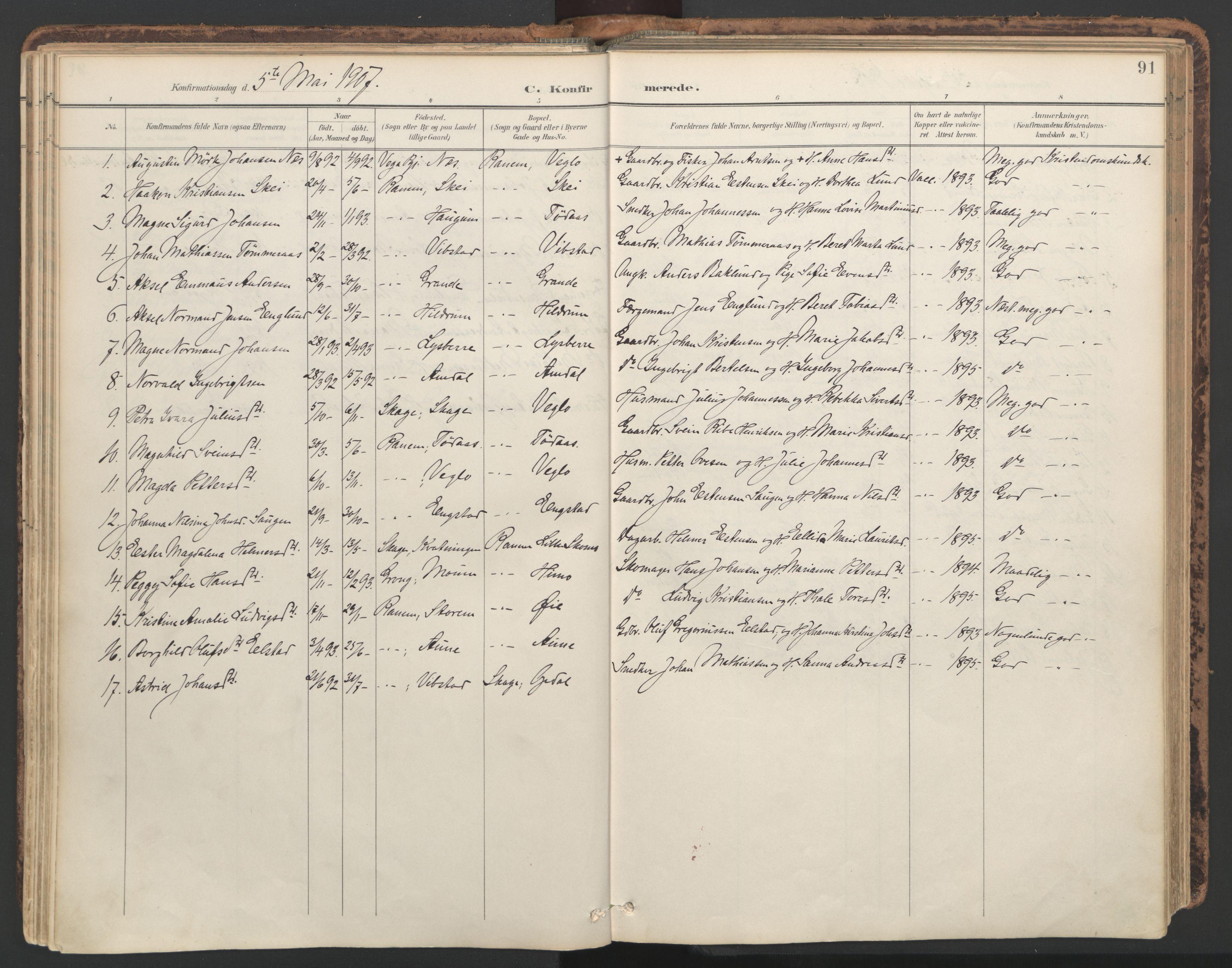 SAT, Ministerialprotokoller, klokkerbøker og fødselsregistre - Nord-Trøndelag, 764/L0556: Ministerialbok nr. 764A11, 1897-1924, s. 91