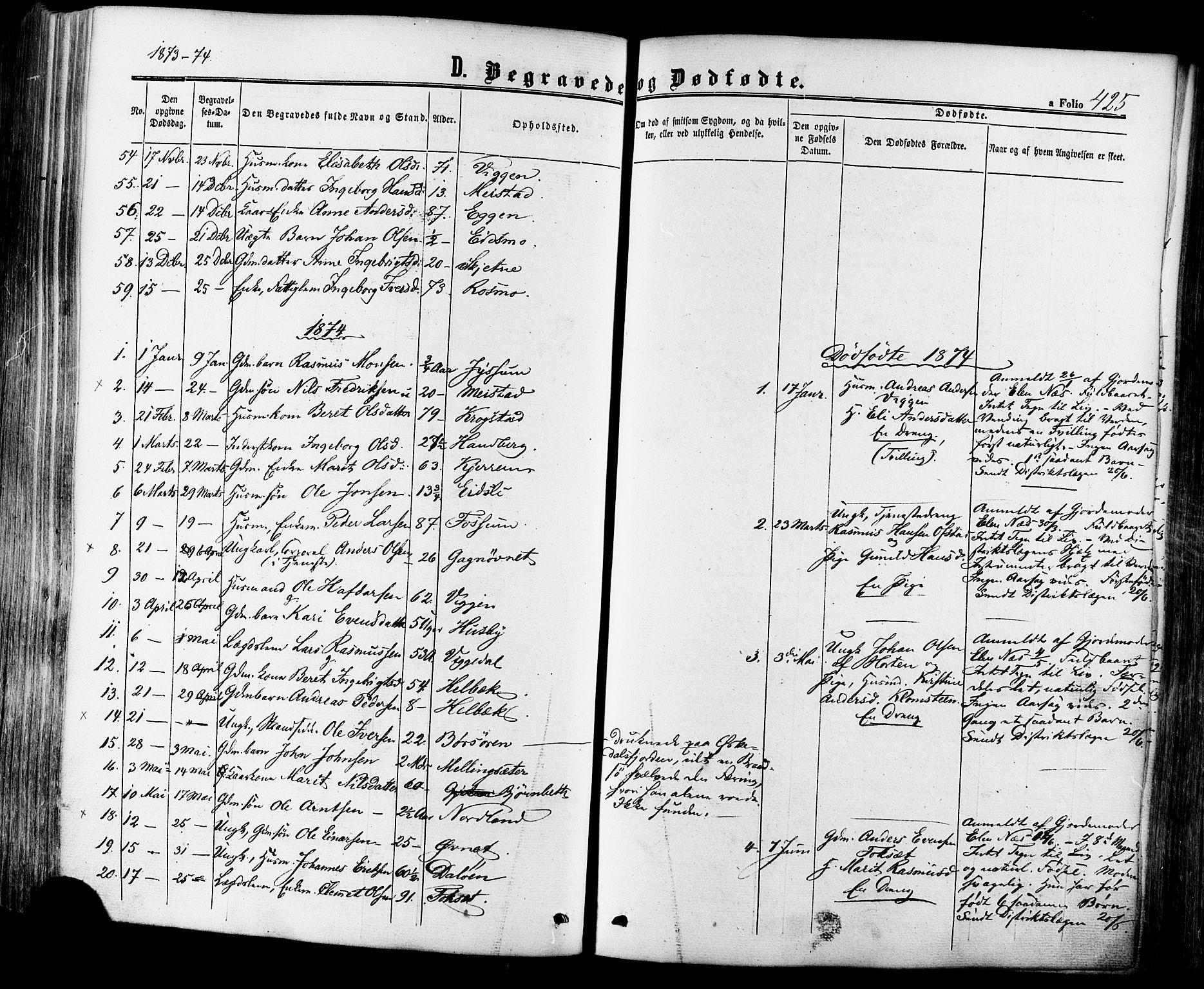 SAT, Ministerialprotokoller, klokkerbøker og fødselsregistre - Sør-Trøndelag, 665/L0772: Ministerialbok nr. 665A07, 1856-1878, s. 425