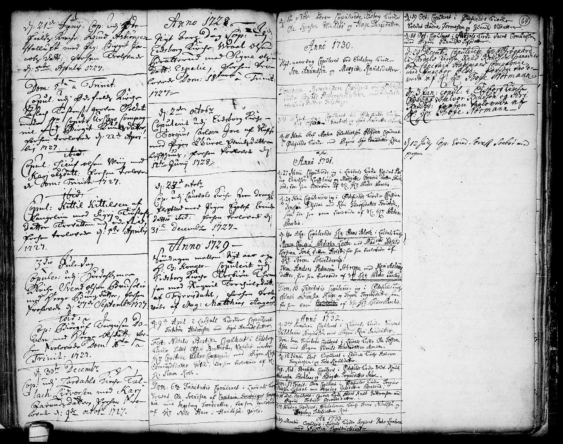 SAKO, Lårdal kirkebøker, F/Fa/L0001: Ministerialbok nr. I 1, 1721-1734, s. 64
