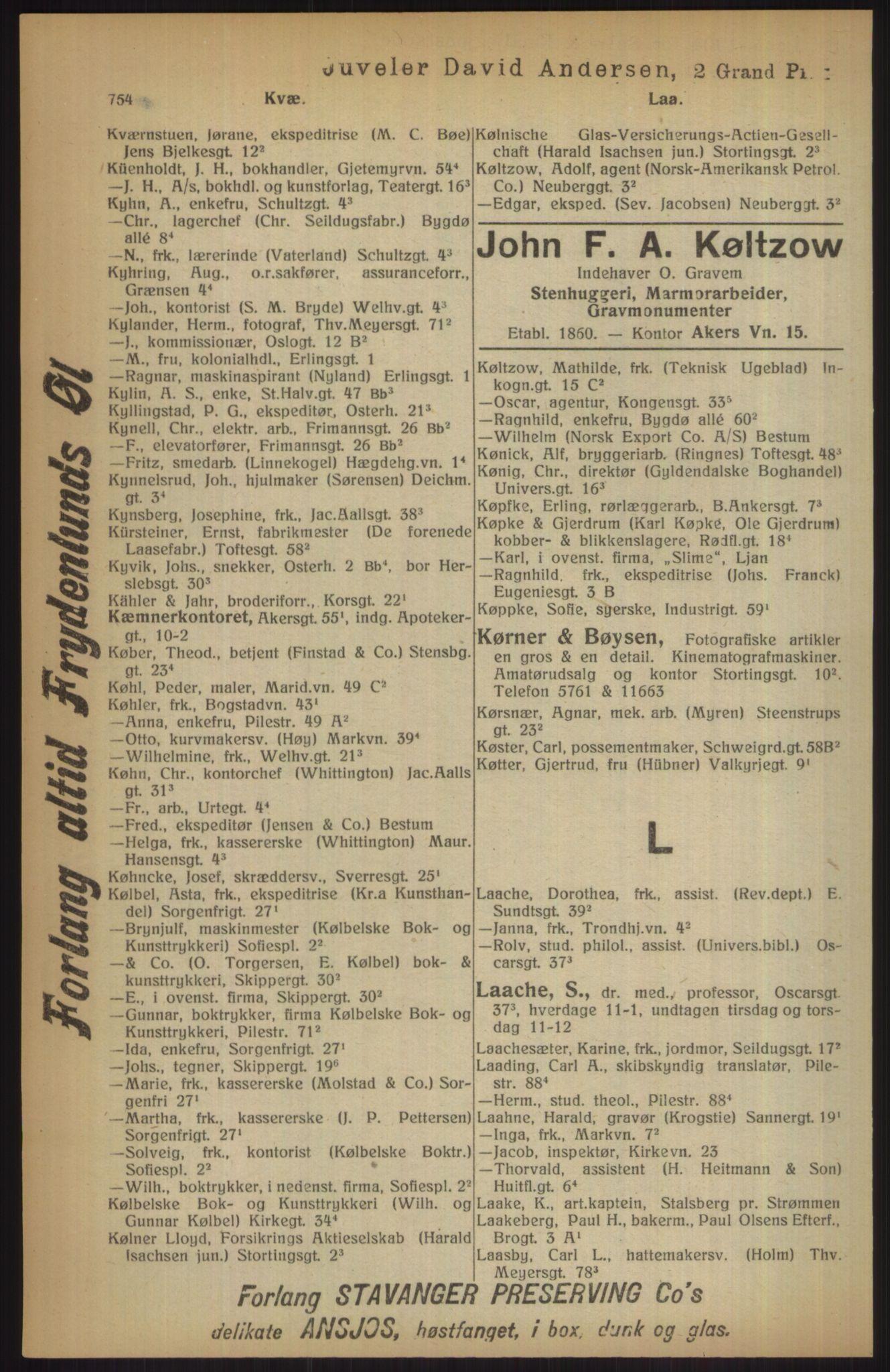 RA, Kristiania adressebok (publikasjon)*, 1915, s. 754