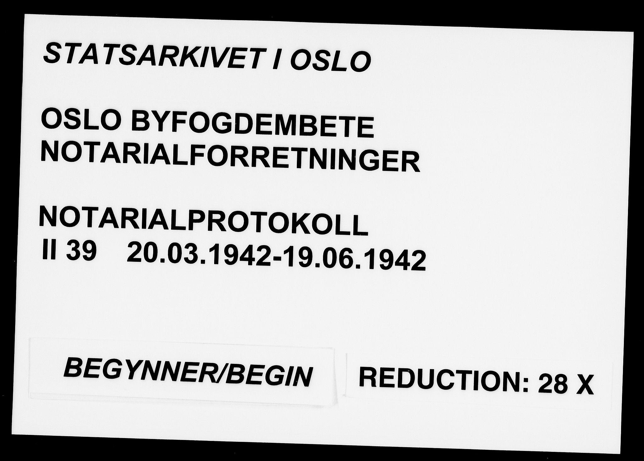 SAO, Oslo byfogd avd. I, L/Lb/Lbb/L0039: Notarialprotokoll, rekke II: Vigsler, 1942, s. upaginert