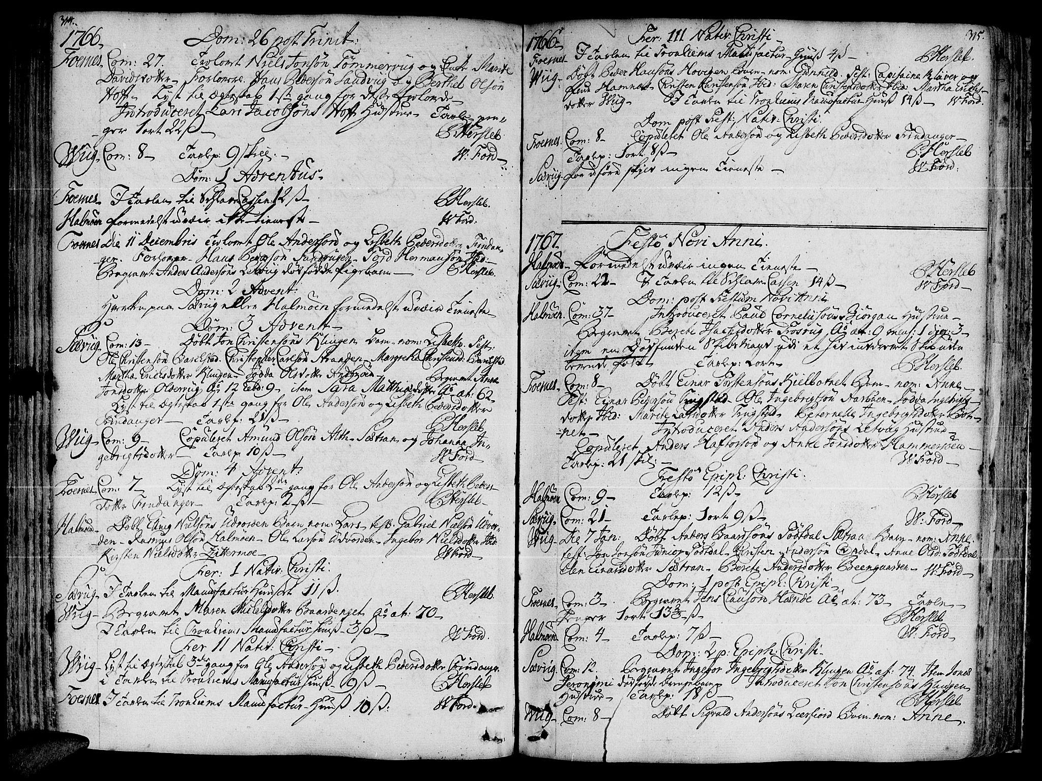 SAT, Ministerialprotokoller, klokkerbøker og fødselsregistre - Nord-Trøndelag, 773/L0607: Ministerialbok nr. 773A01, 1751-1783, s. 314-315