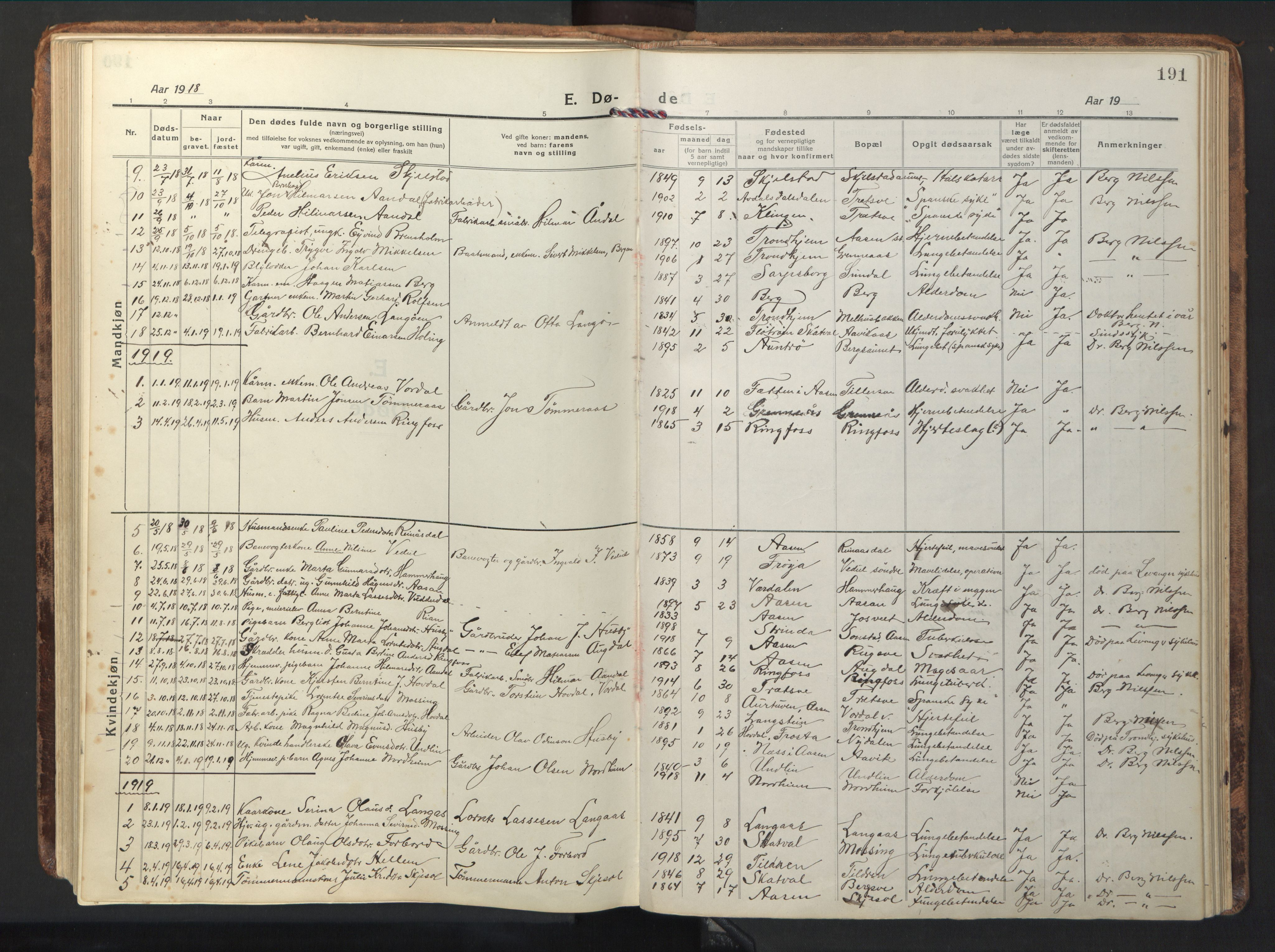 SAT, Ministerialprotokoller, klokkerbøker og fødselsregistre - Nord-Trøndelag, 714/L0136: Klokkerbok nr. 714C05, 1918-1957, s. 191