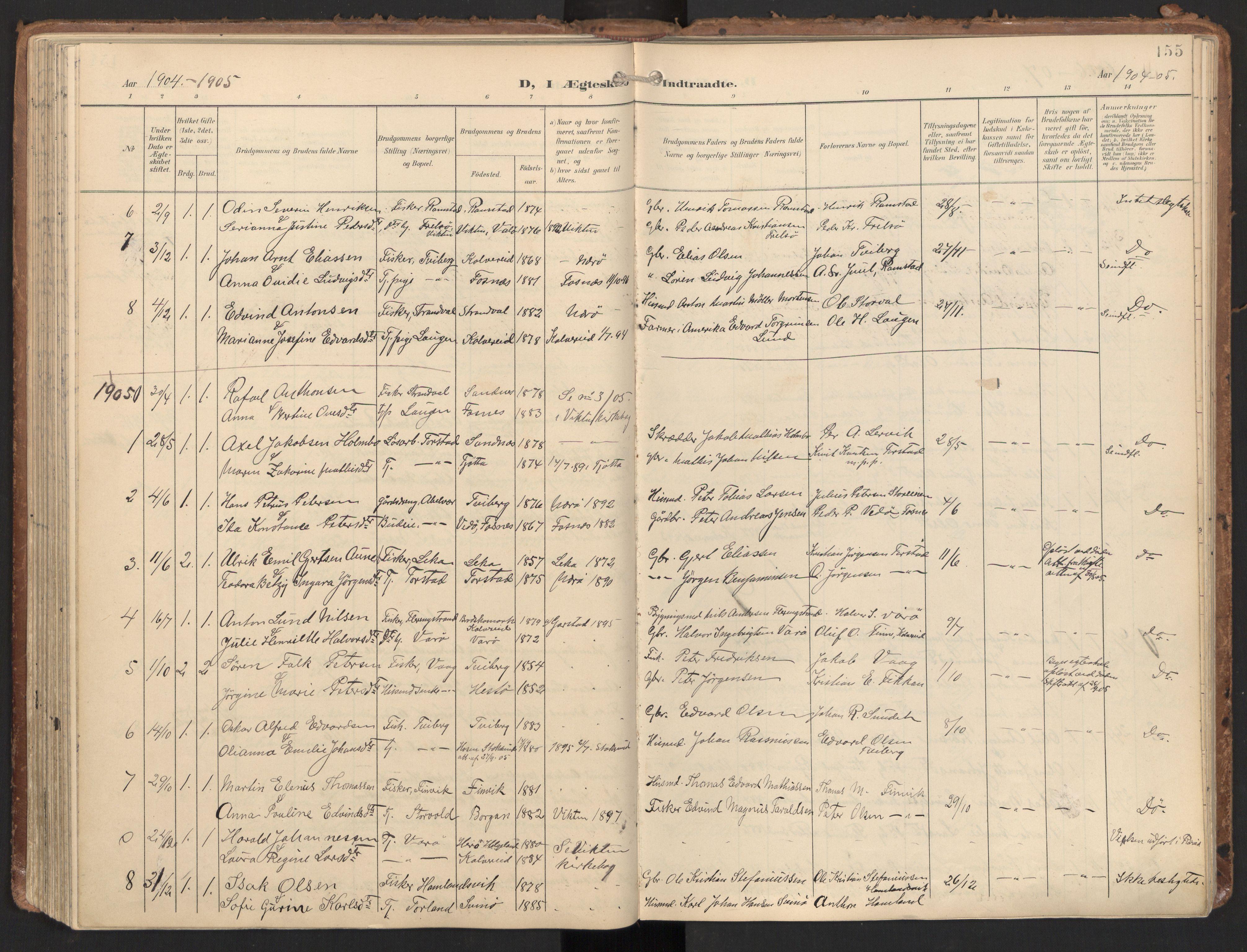 SAT, Ministerialprotokoller, klokkerbøker og fødselsregistre - Nord-Trøndelag, 784/L0677: Ministerialbok nr. 784A12, 1900-1920, s. 155