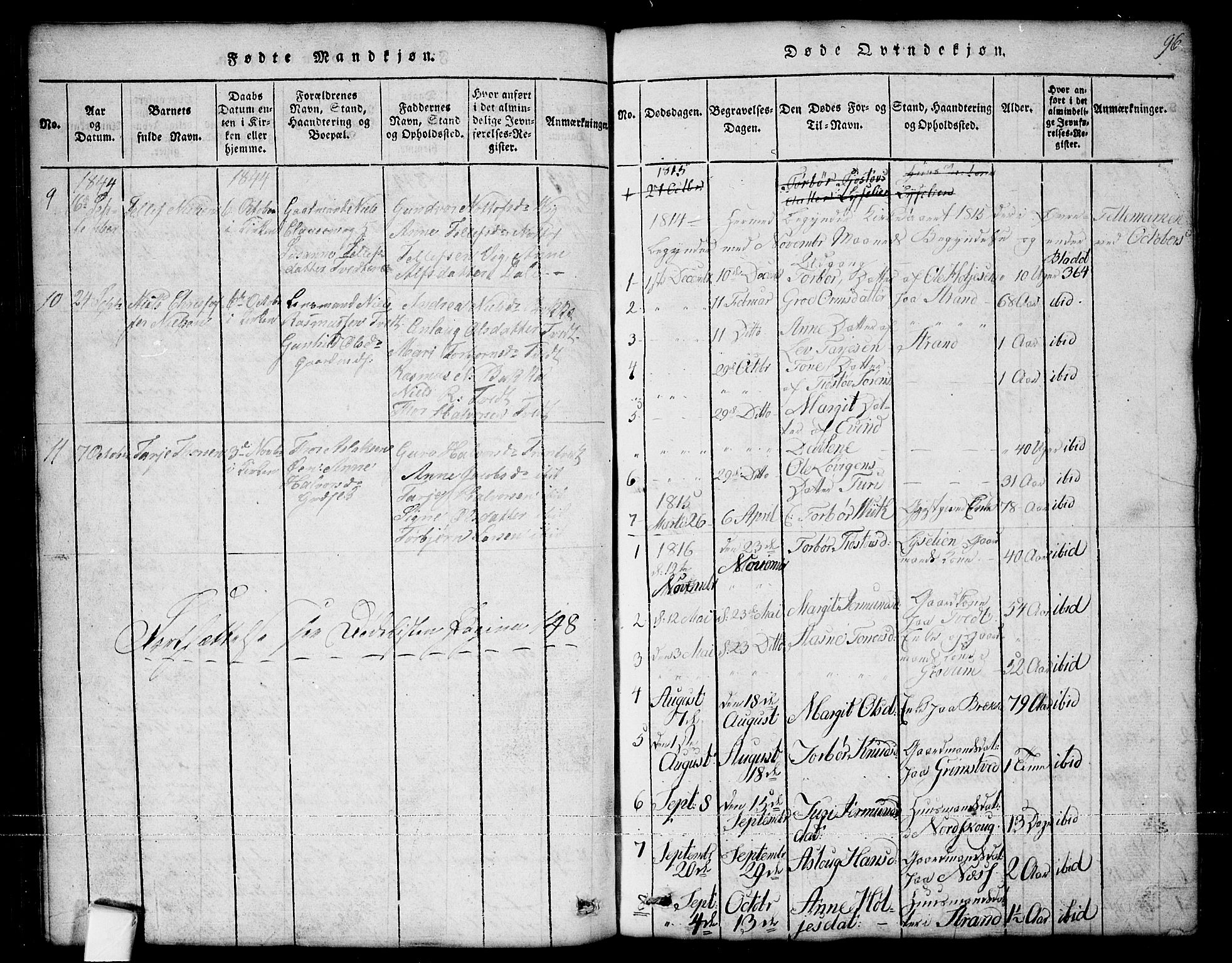 SAKO, Nissedal kirkebøker, G/Ga/L0001: Klokkerbok nr. I 1, 1814-1860, s. 96
