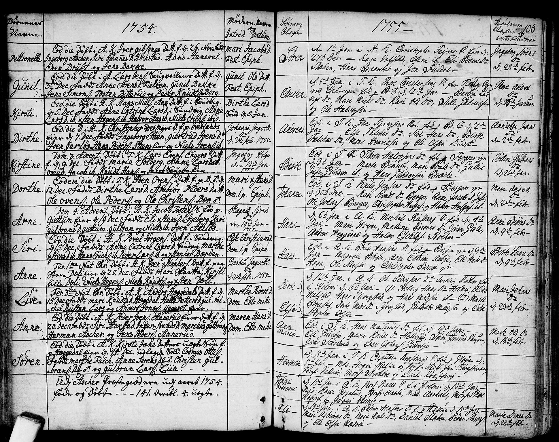 SAO, Asker prestekontor Kirkebøker, F/Fa/L0002: Ministerialbok nr. I 2, 1733-1766, s. 106