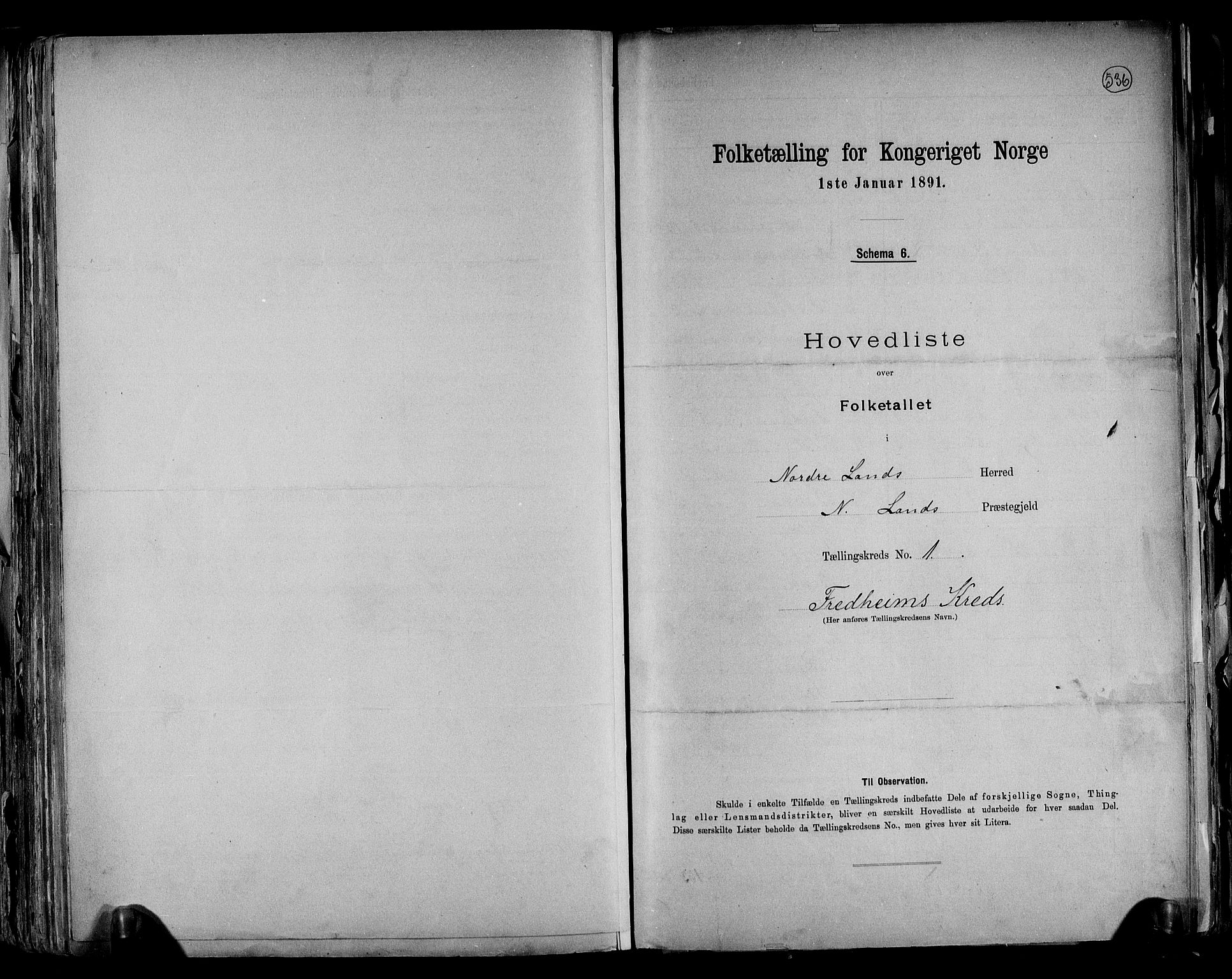 RA, Folketelling 1891 for 0538 Nordre Land herred, 1891, s. 4