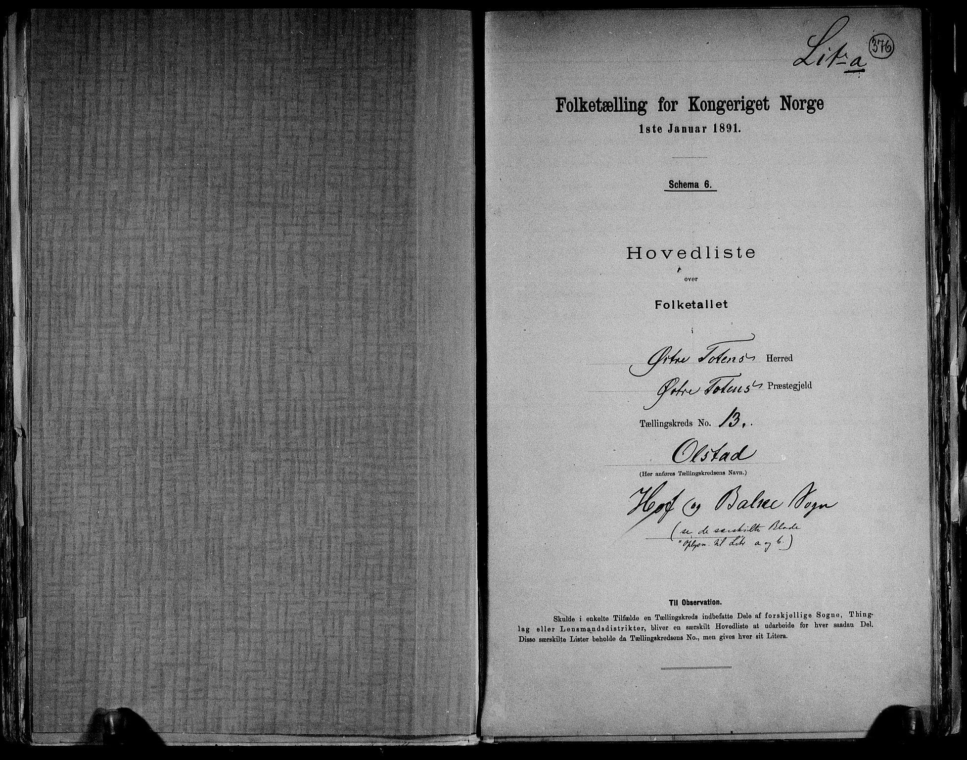 RA, Folketelling 1891 for 0528 Østre Toten herred, 1891, s. 39