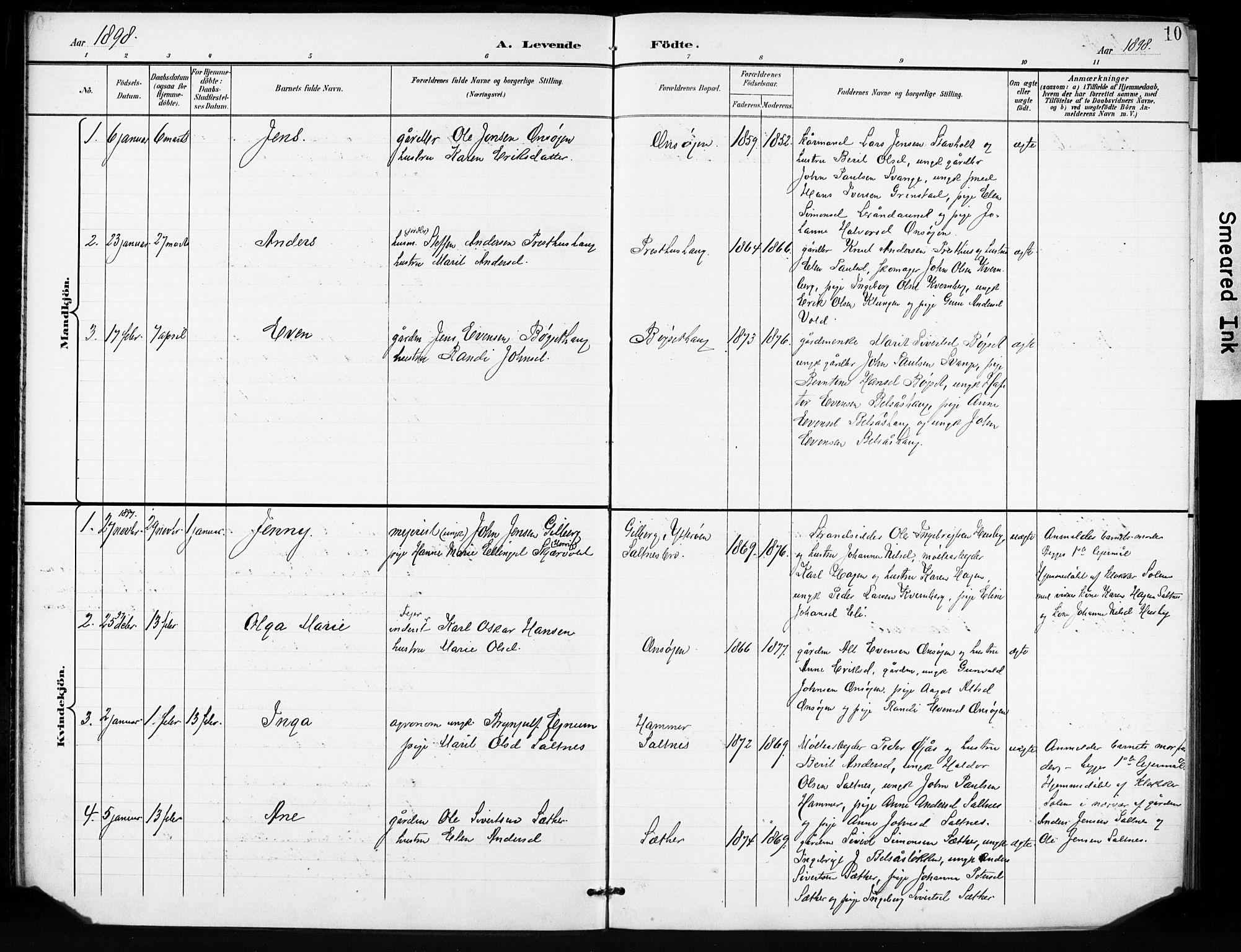 SAT, Ministerialprotokoller, klokkerbøker og fødselsregistre - Sør-Trøndelag, 666/L0787: Ministerialbok nr. 666A05, 1895-1908, s. 10