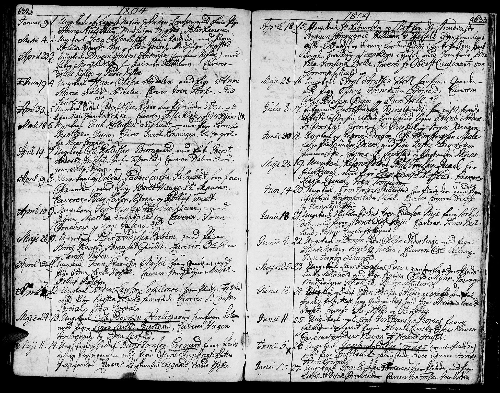 SAT, Ministerialprotokoller, klokkerbøker og fødselsregistre - Nord-Trøndelag, 709/L0060: Ministerialbok nr. 709A07, 1797-1815, s. 632-633