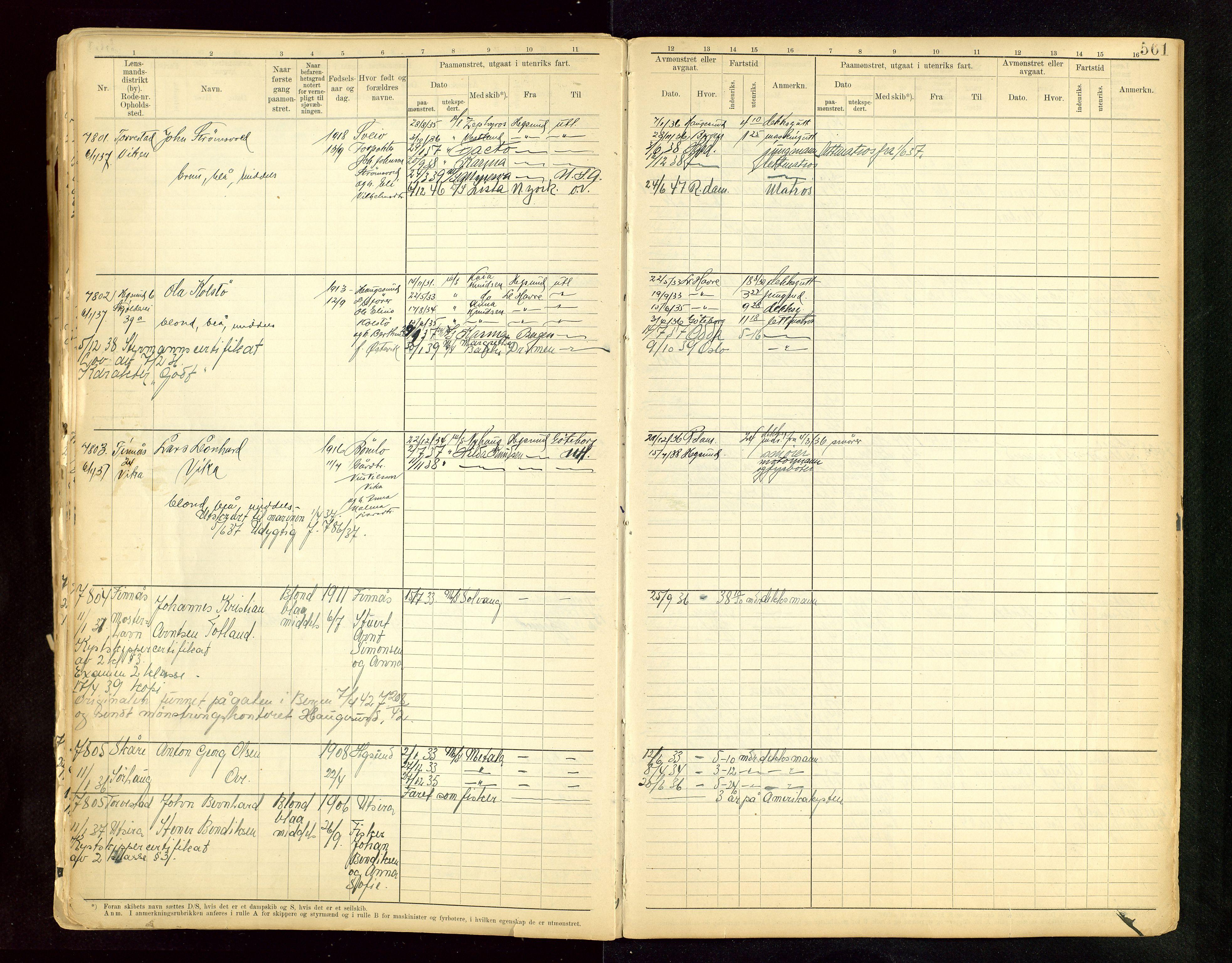 SAST, Haugesund sjømannskontor, F/Fb/Fbb/L0015: Sjøfartsrulle A Haugesund krets I nr 5001-8970, 1912-1948, s. 561