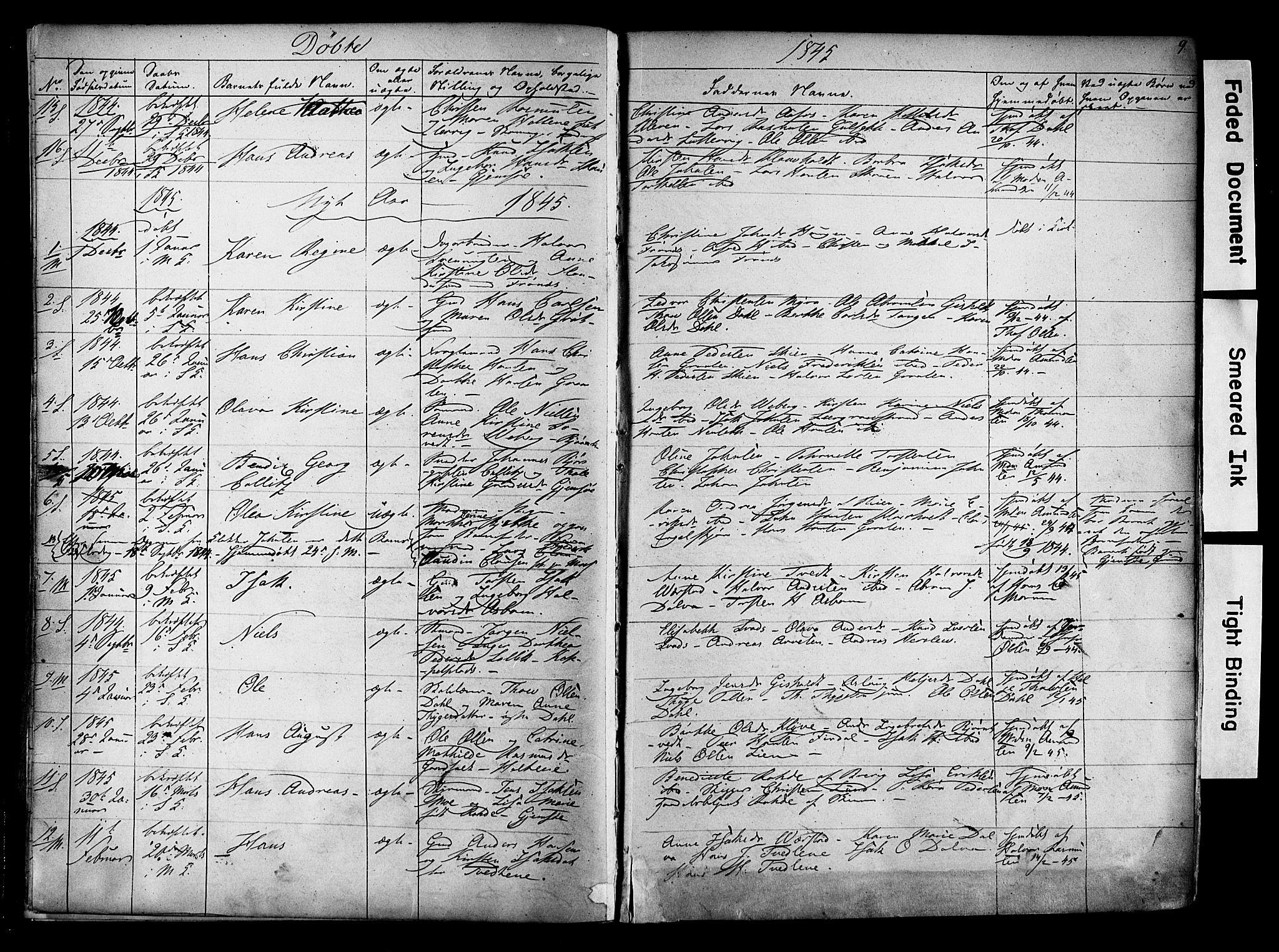 SAKO, Solum kirkebøker, F/Fa/L0006: Ministerialbok nr. I 6, 1844-1855, s. 9