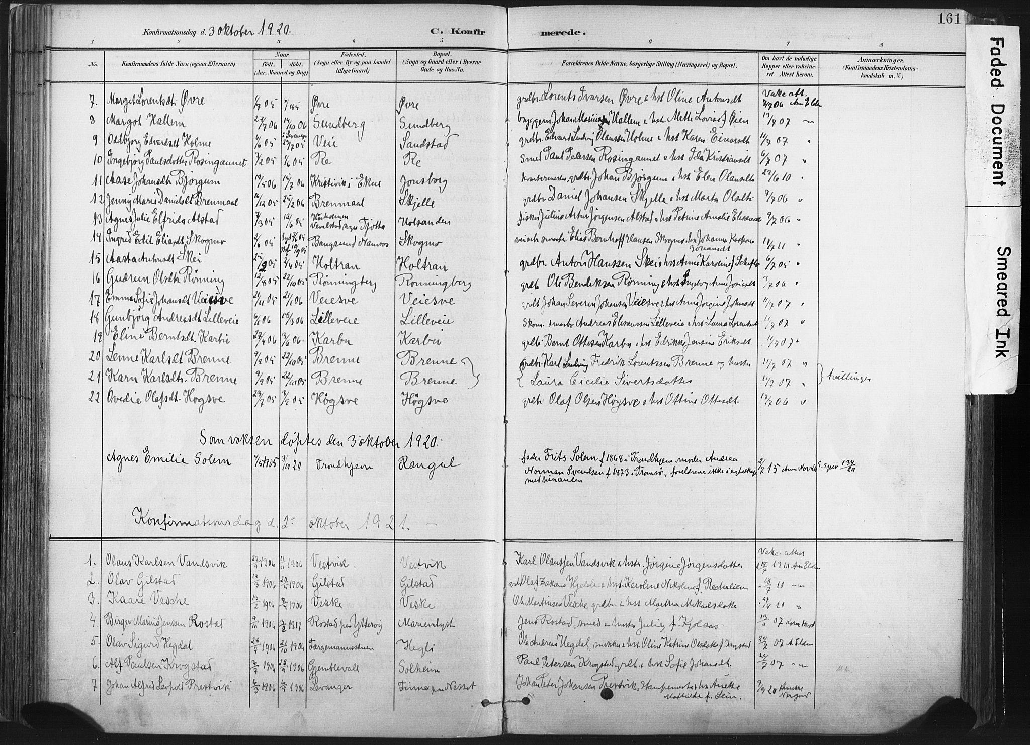 SAT, Ministerialprotokoller, klokkerbøker og fødselsregistre - Nord-Trøndelag, 717/L0162: Ministerialbok nr. 717A12, 1898-1923, s. 161